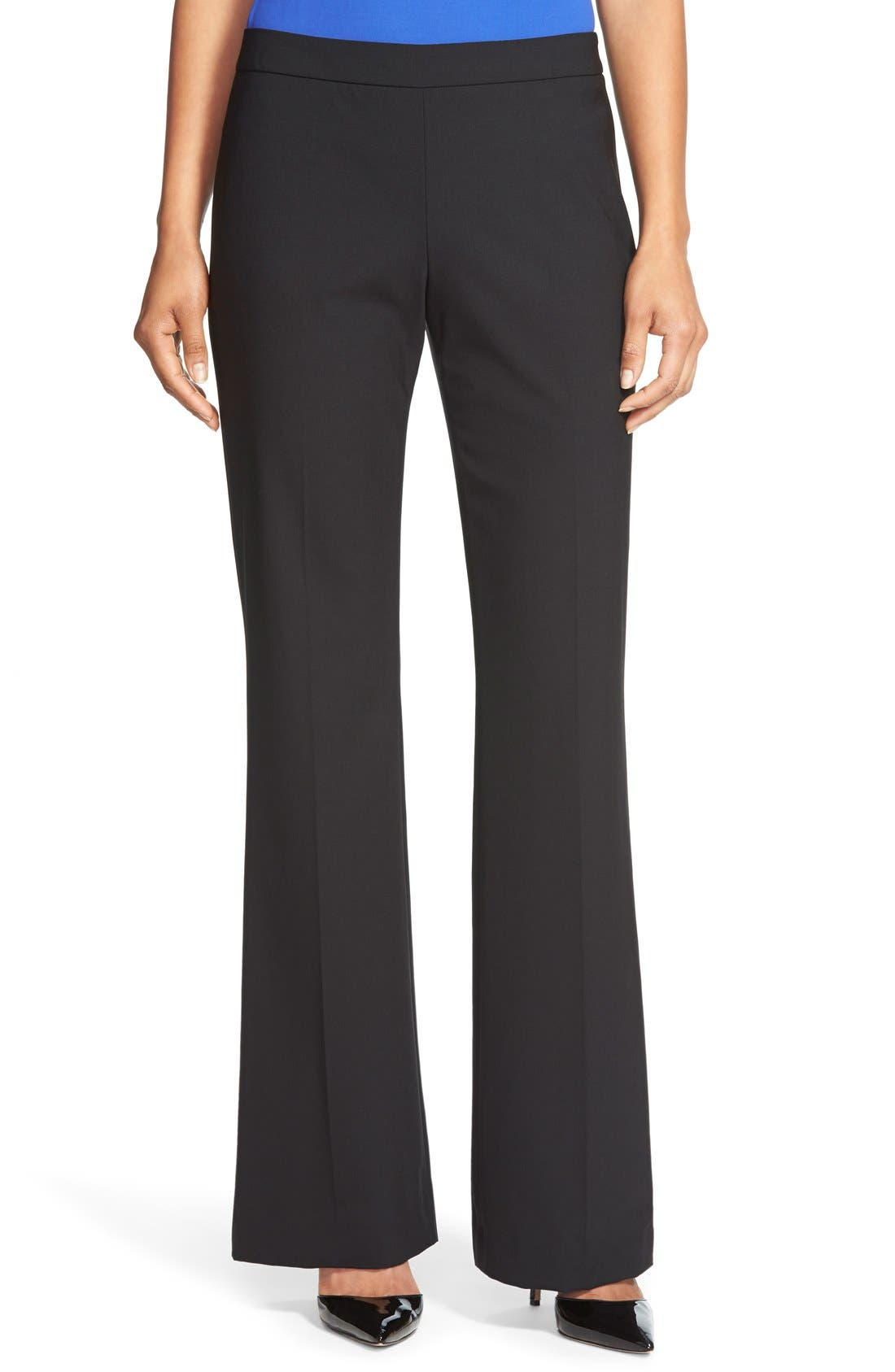 Tulea Side Zip Tropical Stretch Wool Trousers,                         Main,                         color, BLACK