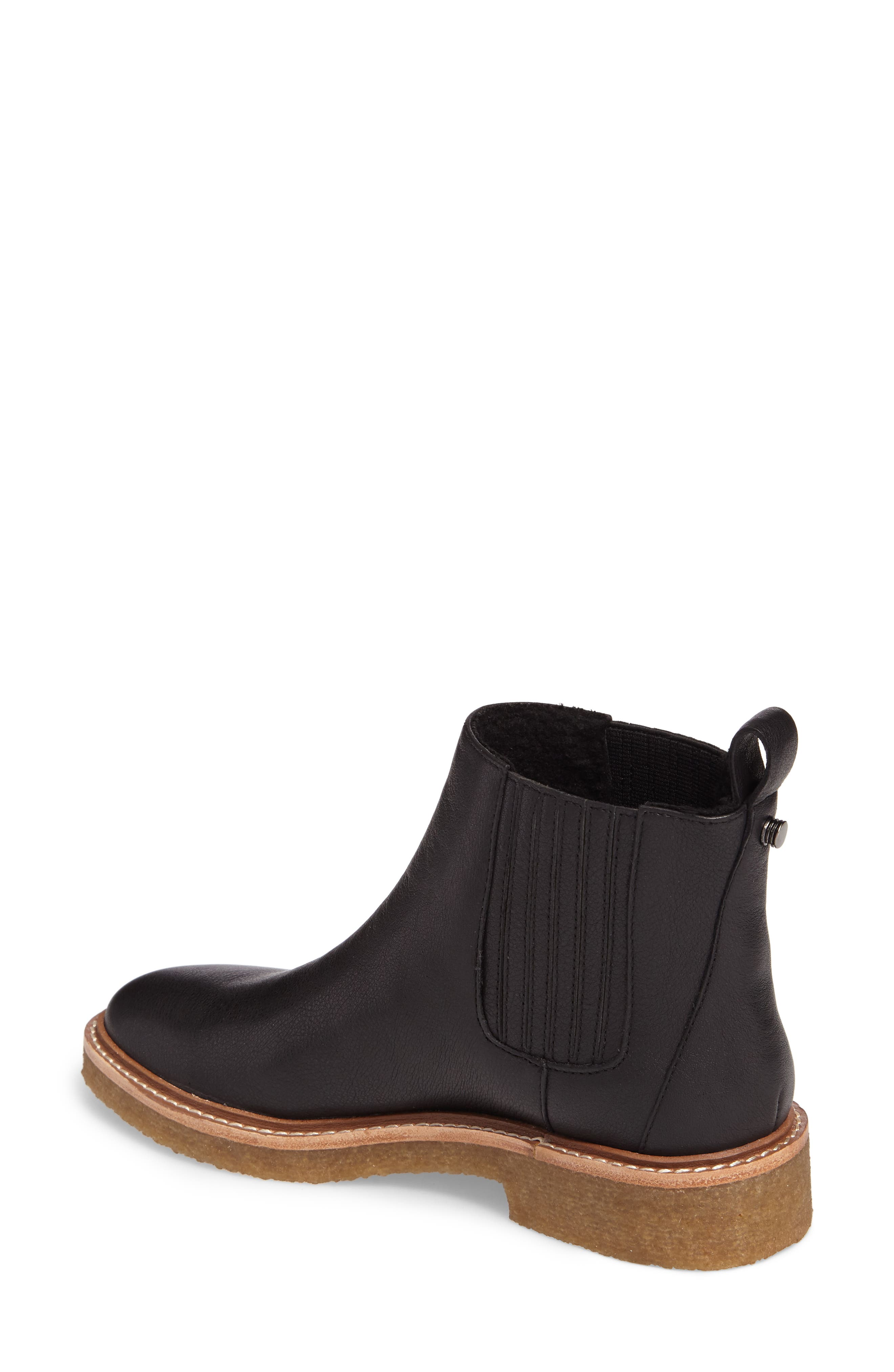 Chelsea Faux Shearling Lined Boot,                             Alternate thumbnail 2, color,                             BLACK LEATHER