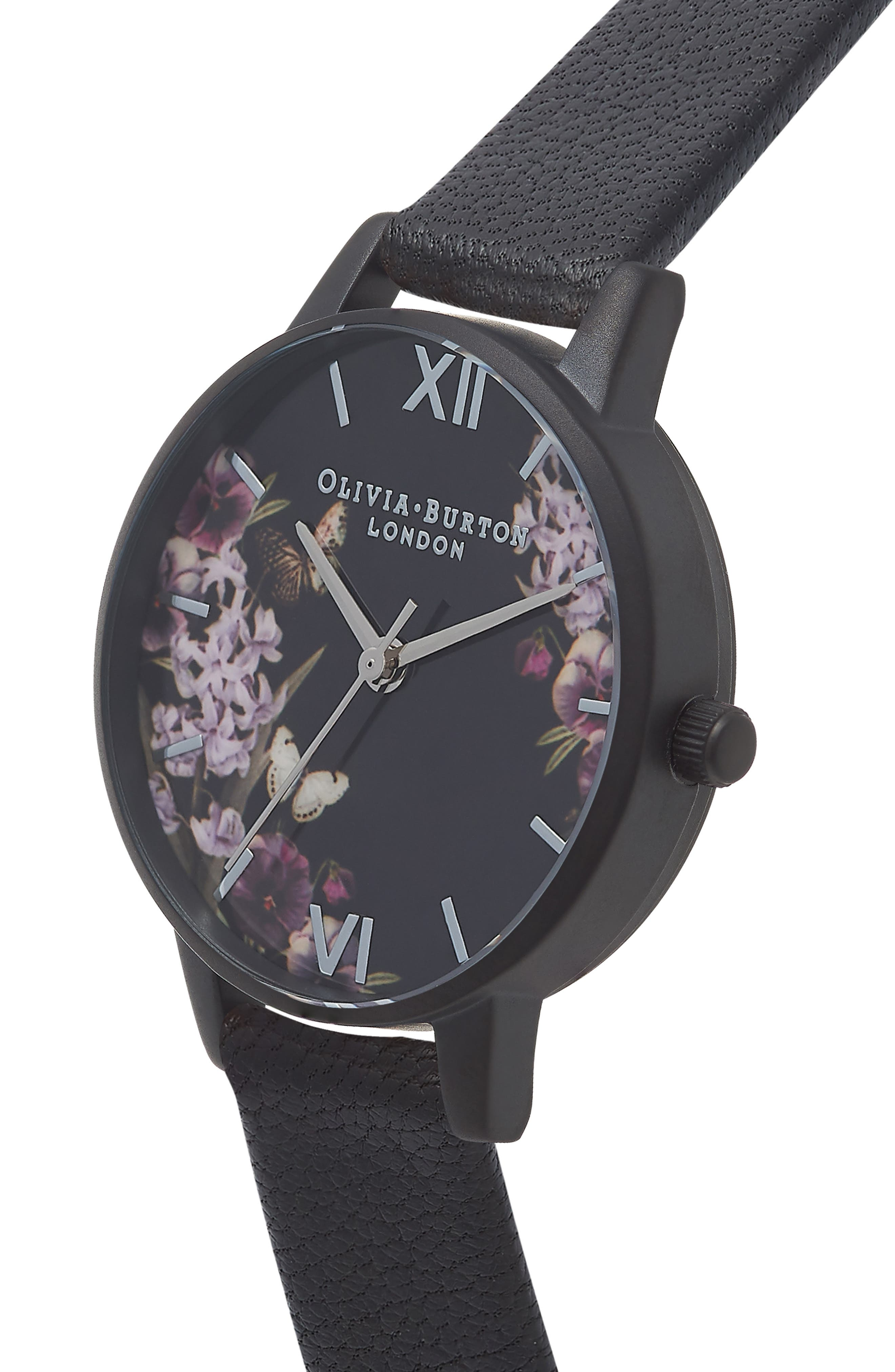 After Dark Leather Strap Watch, 30mm,                             Alternate thumbnail 3, color,                             BLACK FLORAL