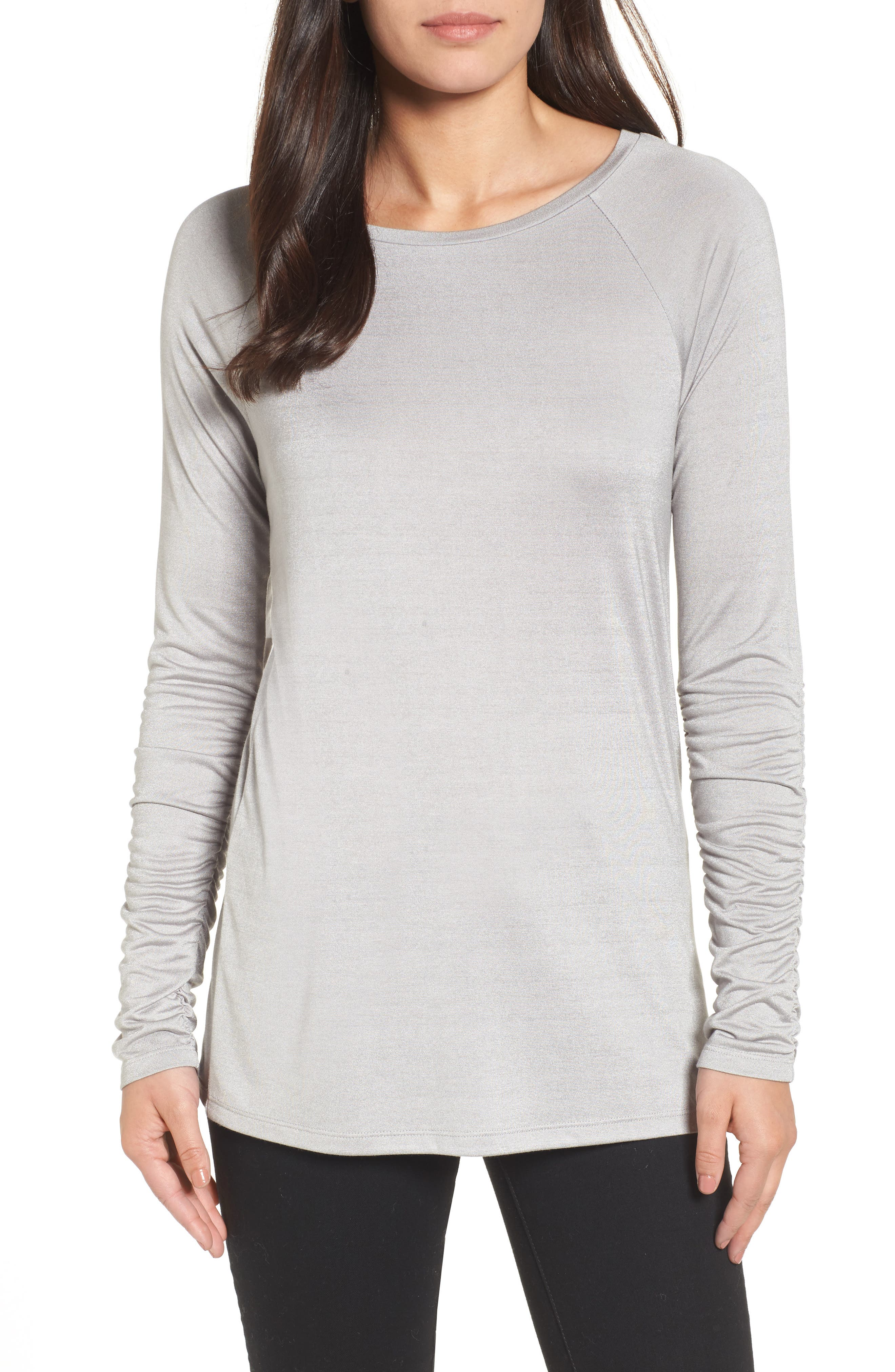 Ruched Sleeve Tee,                             Main thumbnail 2, color,