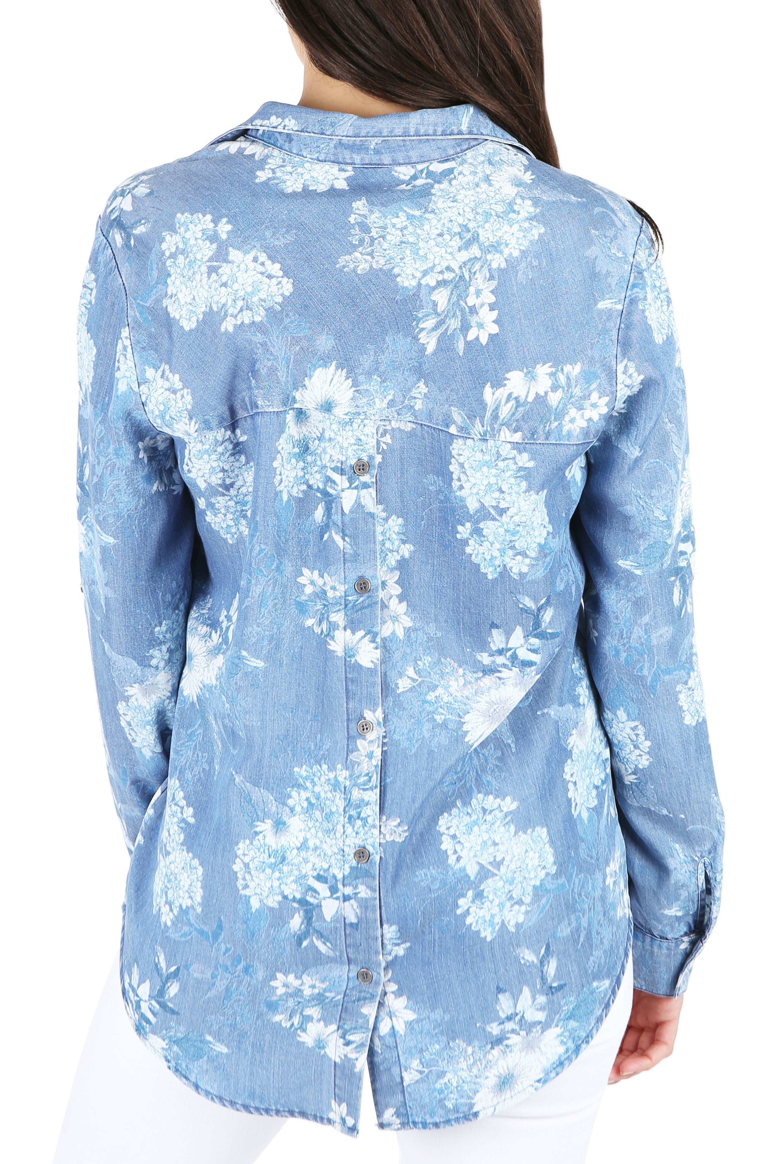 Floral Chambray Top,                             Alternate thumbnail 2, color,