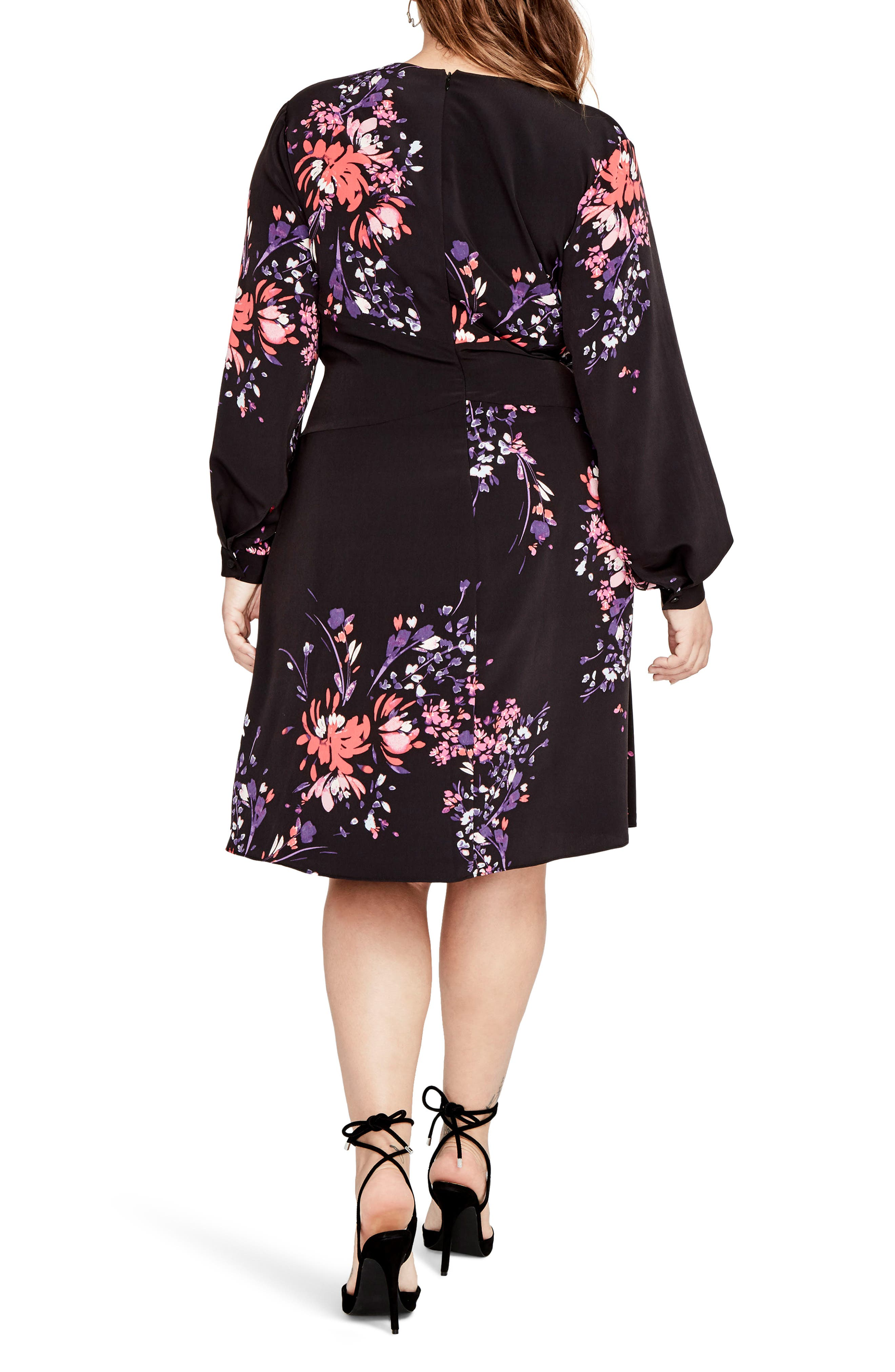 Tie Front Floral Dress,                             Alternate thumbnail 2, color,