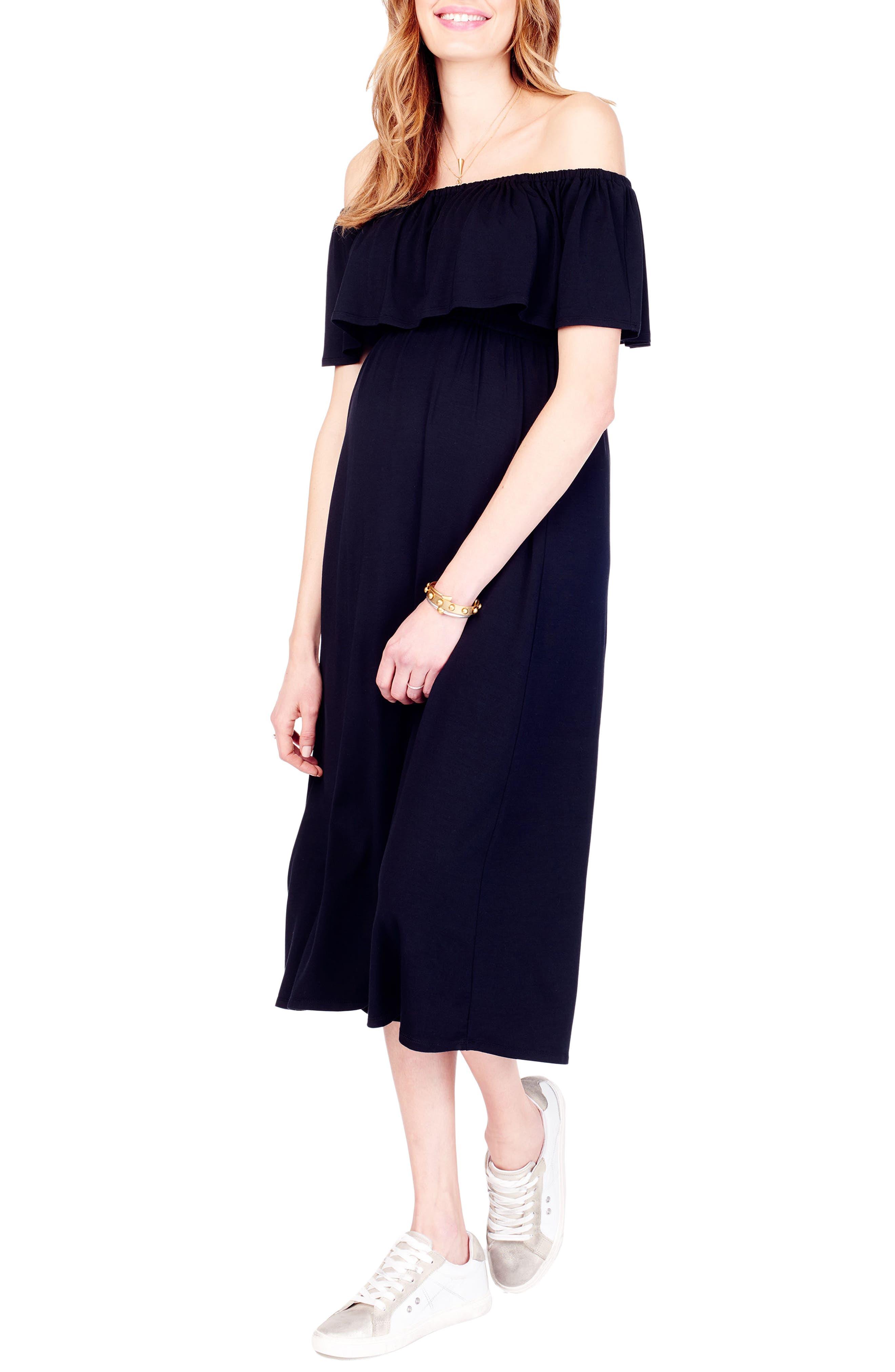 Off the Shoulder Maternity Midi Dress,                             Alternate thumbnail 3, color,                             JET BLACK