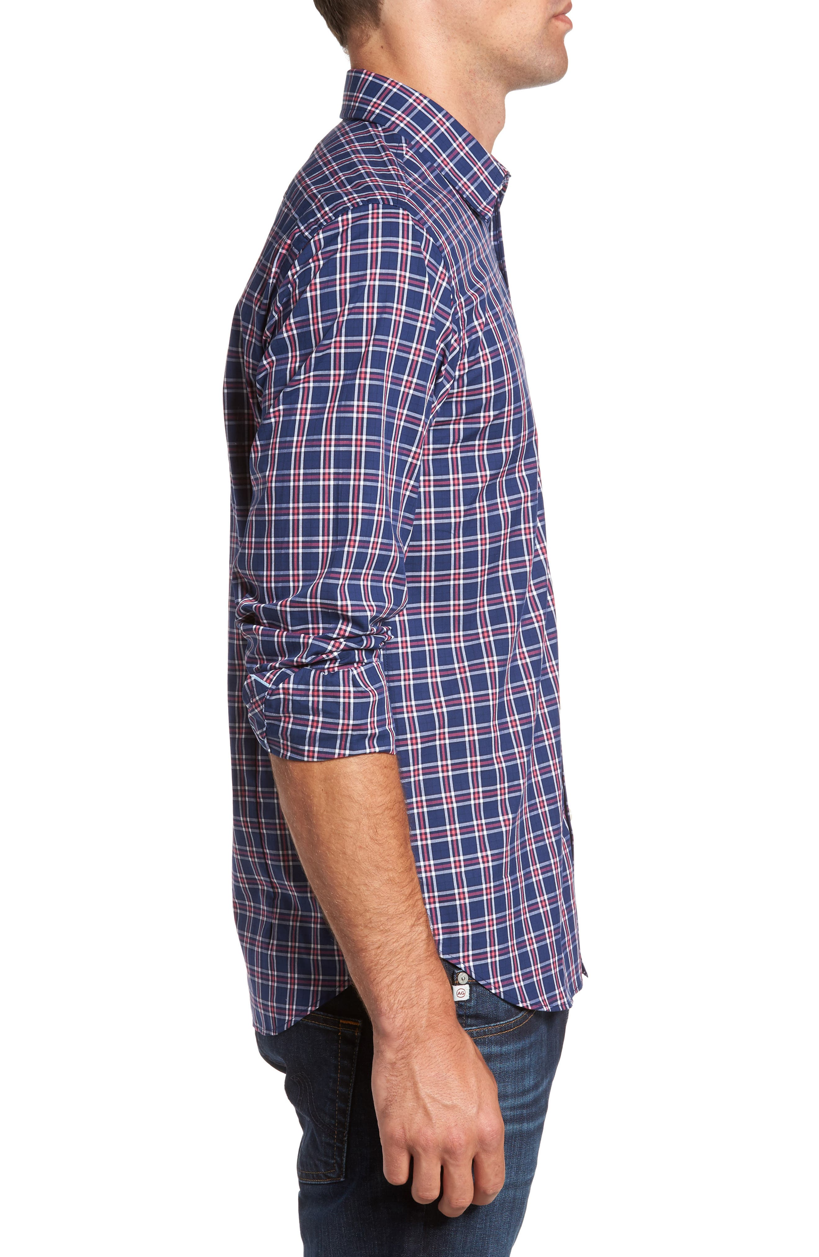 Slim Fit Plaid Sport Shirt,                             Alternate thumbnail 3, color,                             412