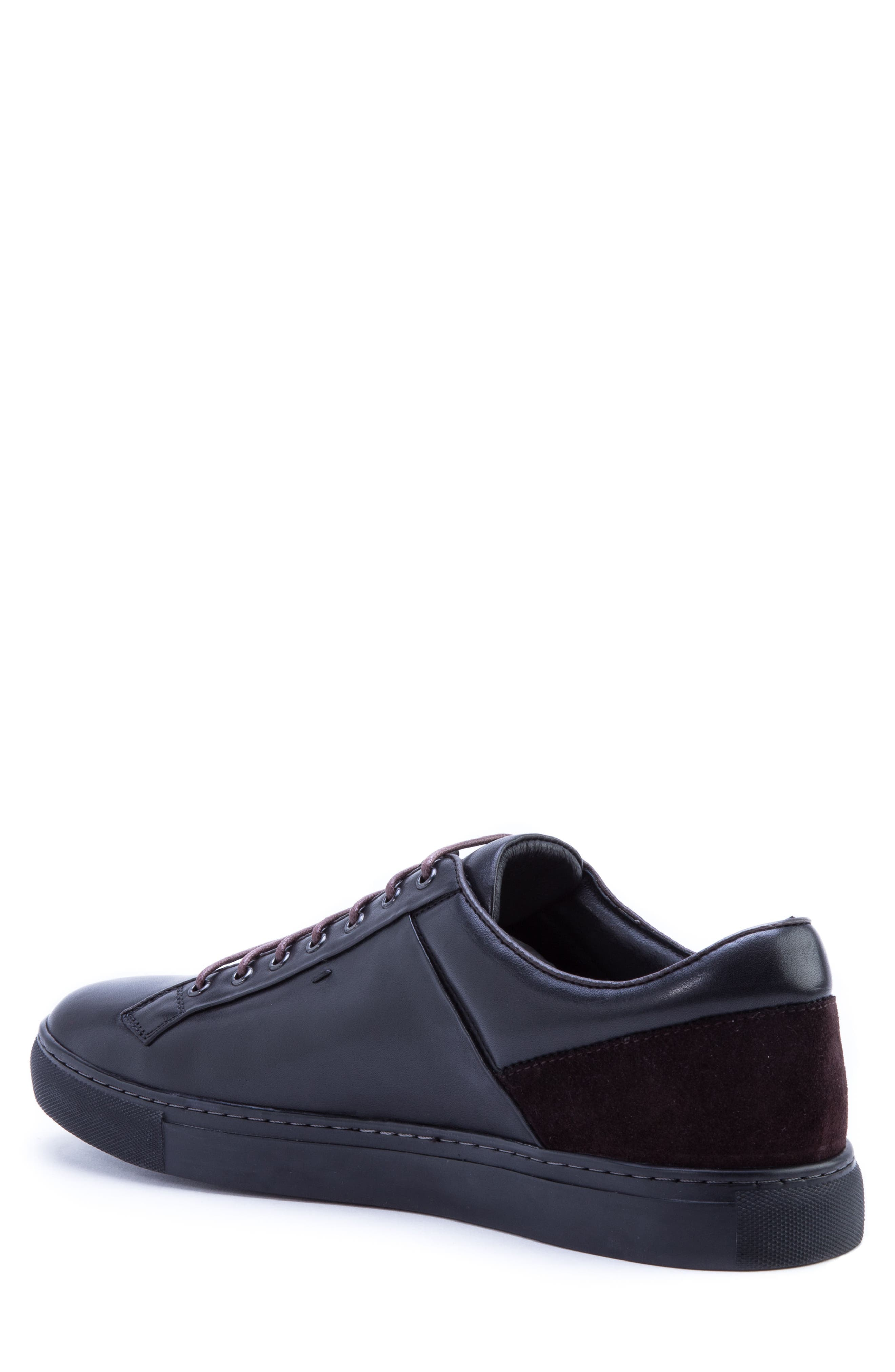 Pitch Low Top Sneaker,                             Alternate thumbnail 2, color,                             BLACK LEATHER/ SUEDE