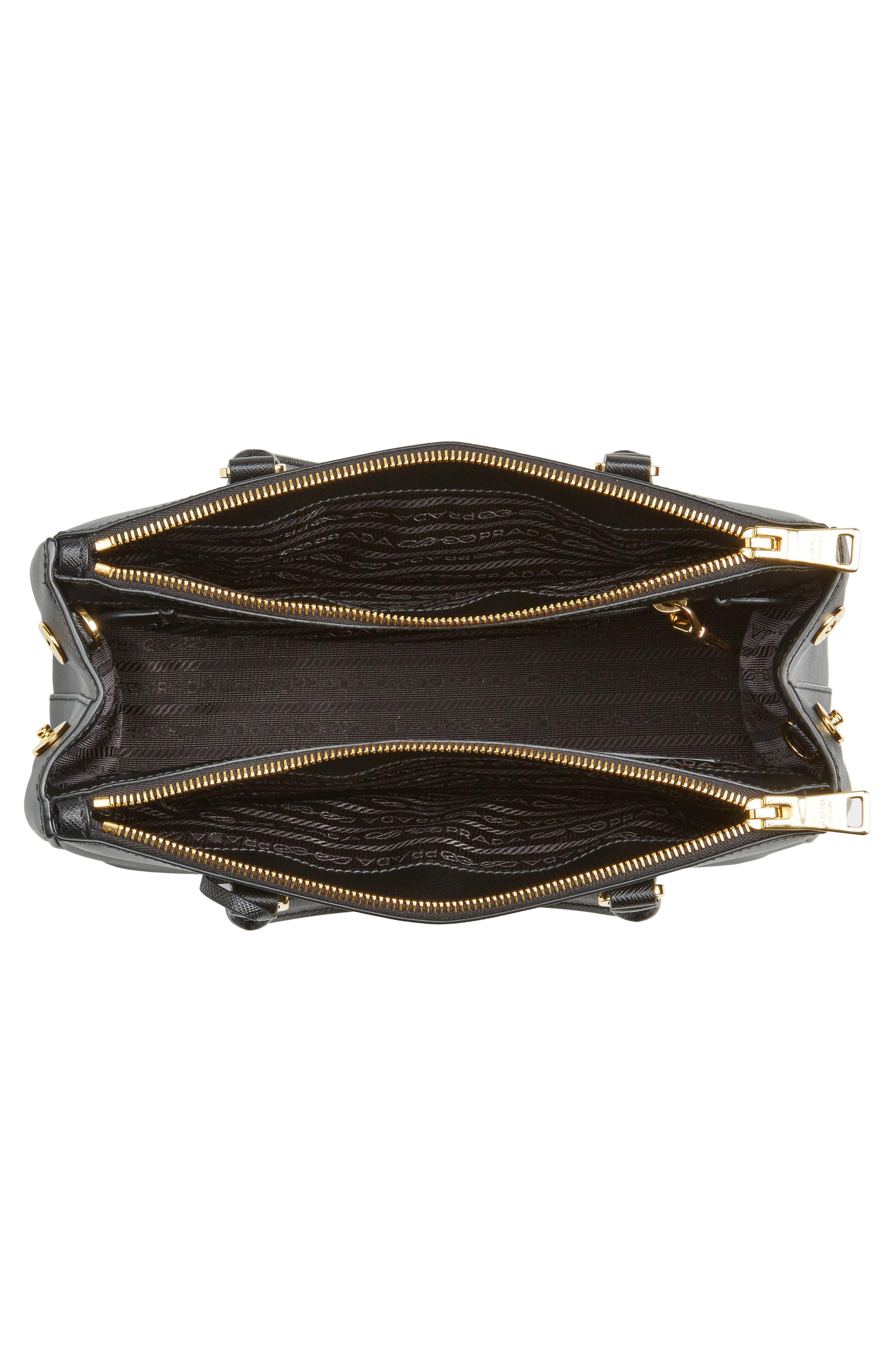 Saffiano Lux Leather Satchel,                             Alternate thumbnail 4, color,                             001