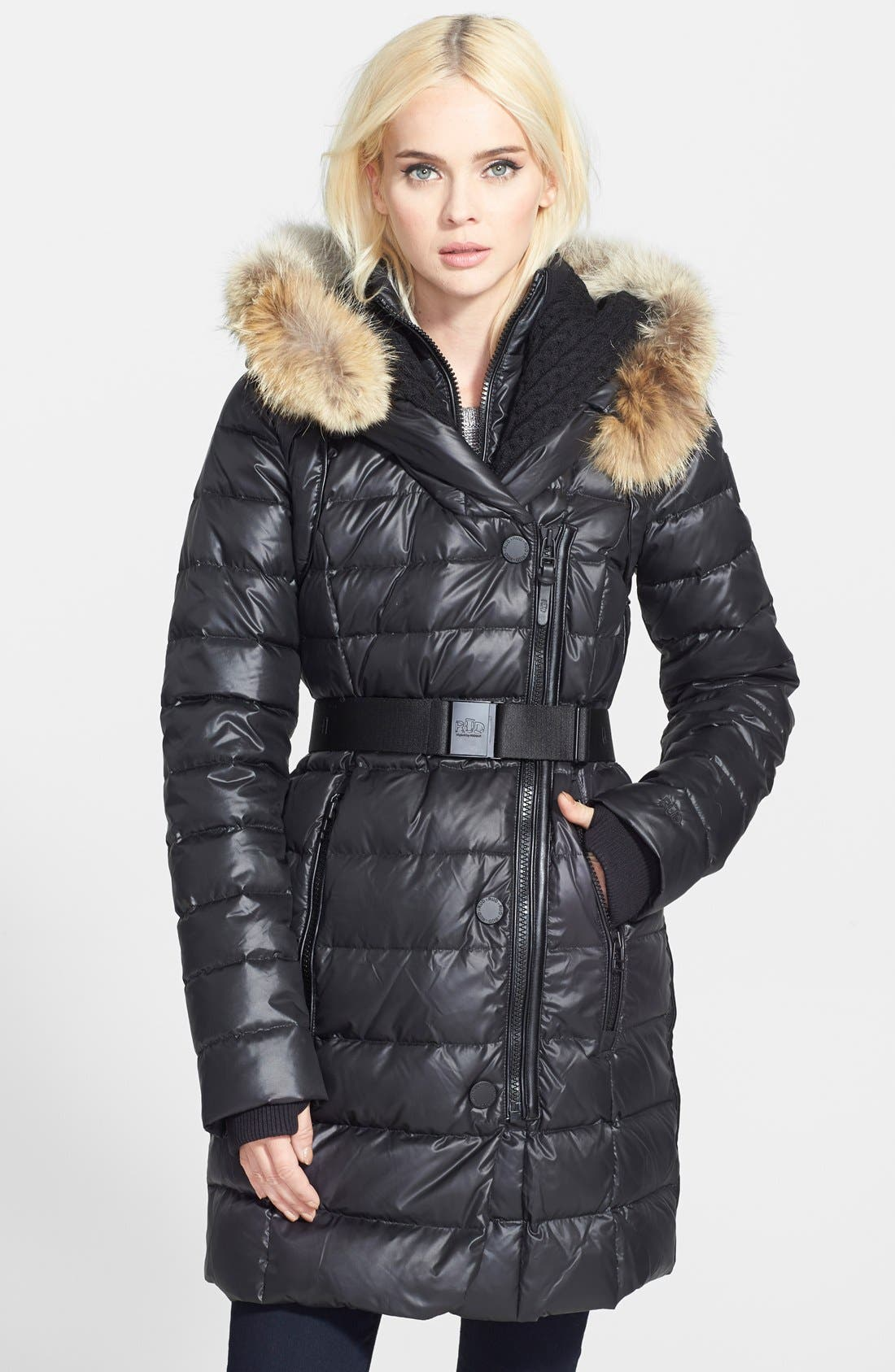 'Joannie' Belted Puffer Coat with Genuine Coyote Fur Trimmed Hood,                             Main thumbnail 1, color,                             001