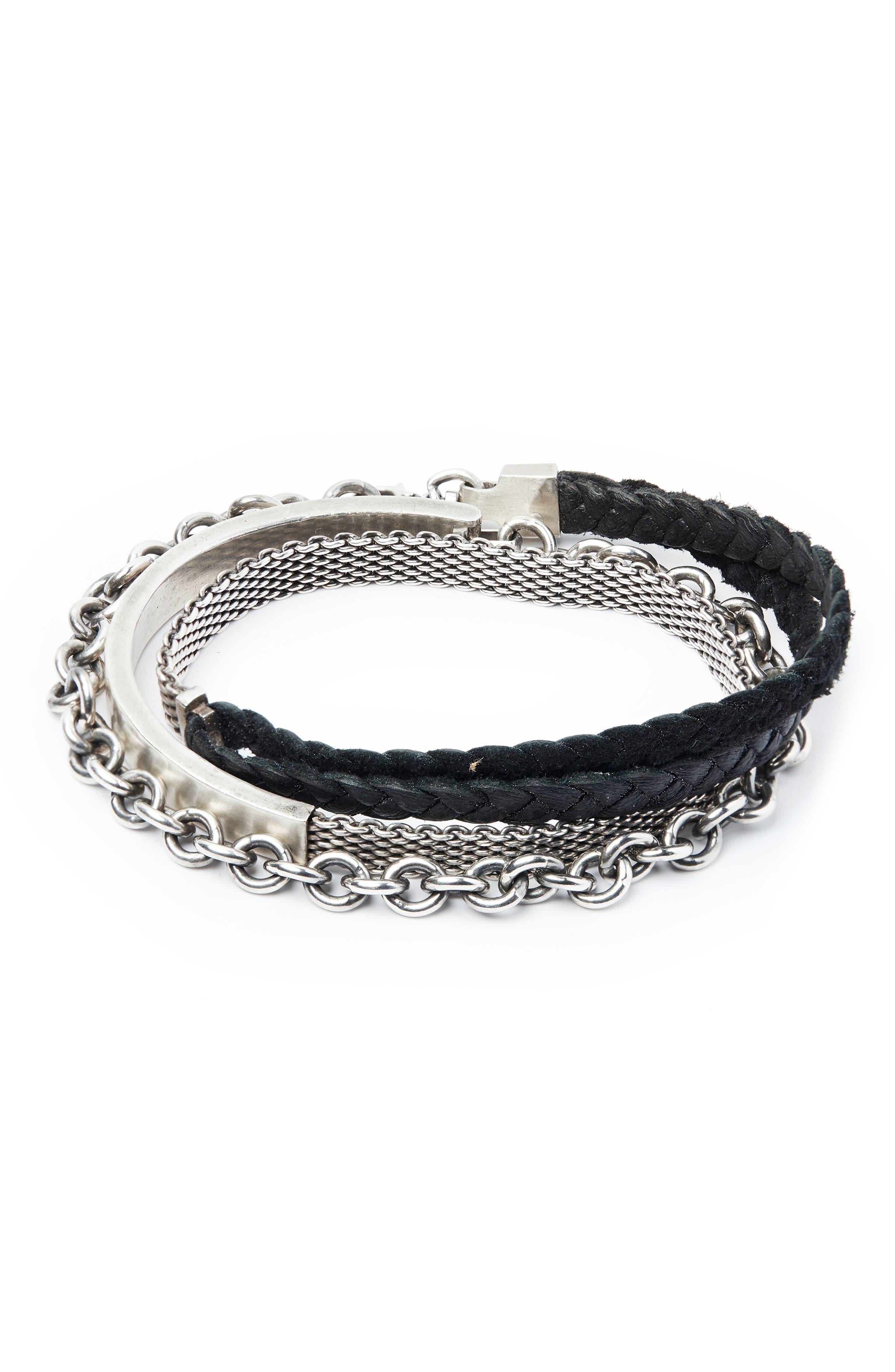 Signature Sterling Silver & Leather Wrap Bracelet,                             Main thumbnail 1, color,                             SILVER/ BLACK