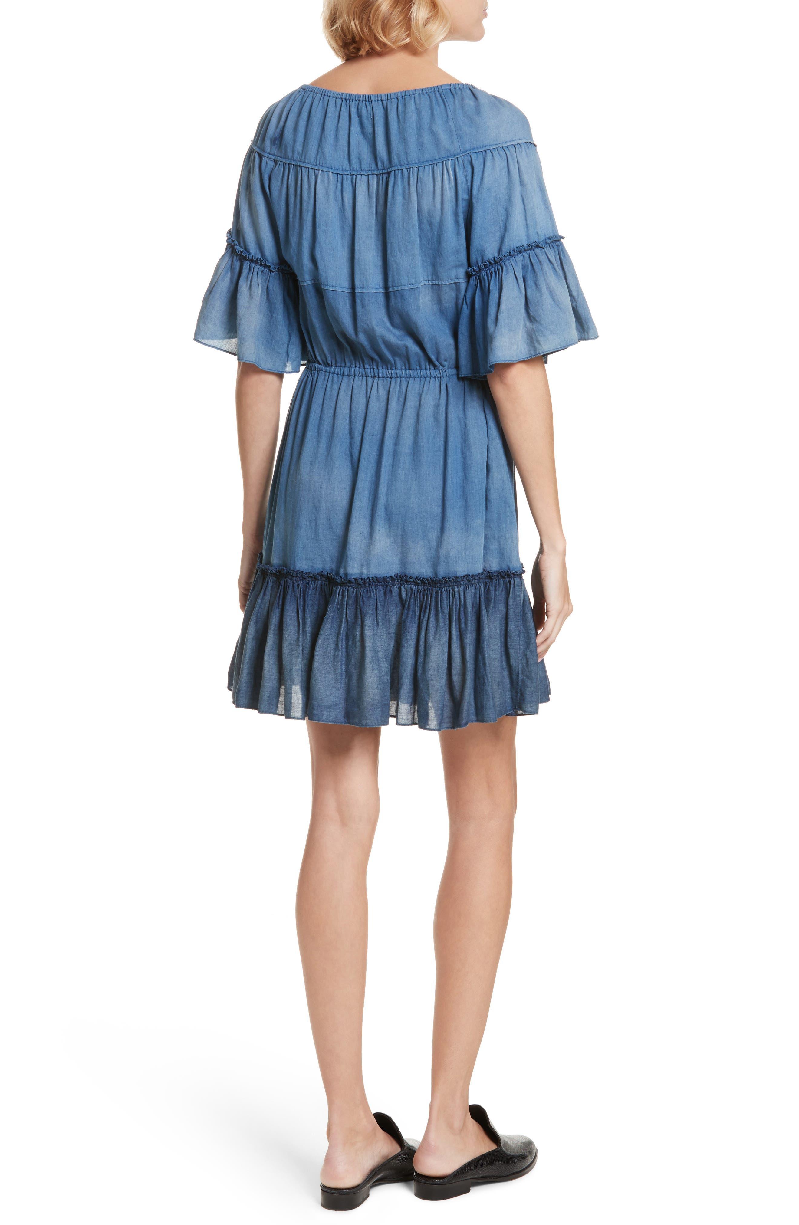Ruffle Tissue Denim Dress,                             Alternate thumbnail 2, color,                             453