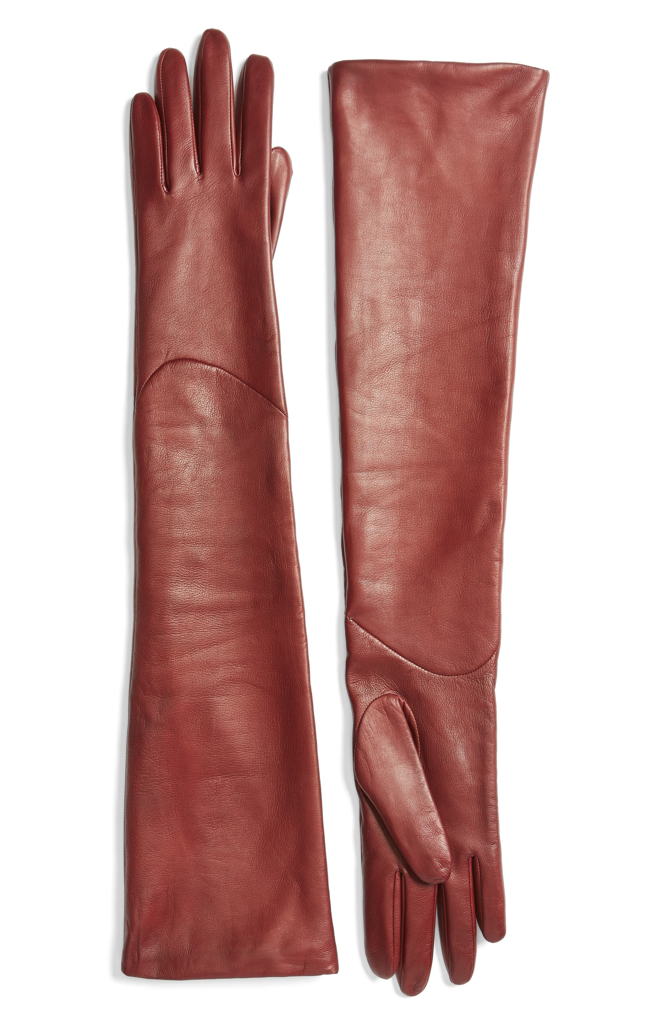 Long Leather Gloves,                             Main thumbnail 2, color,