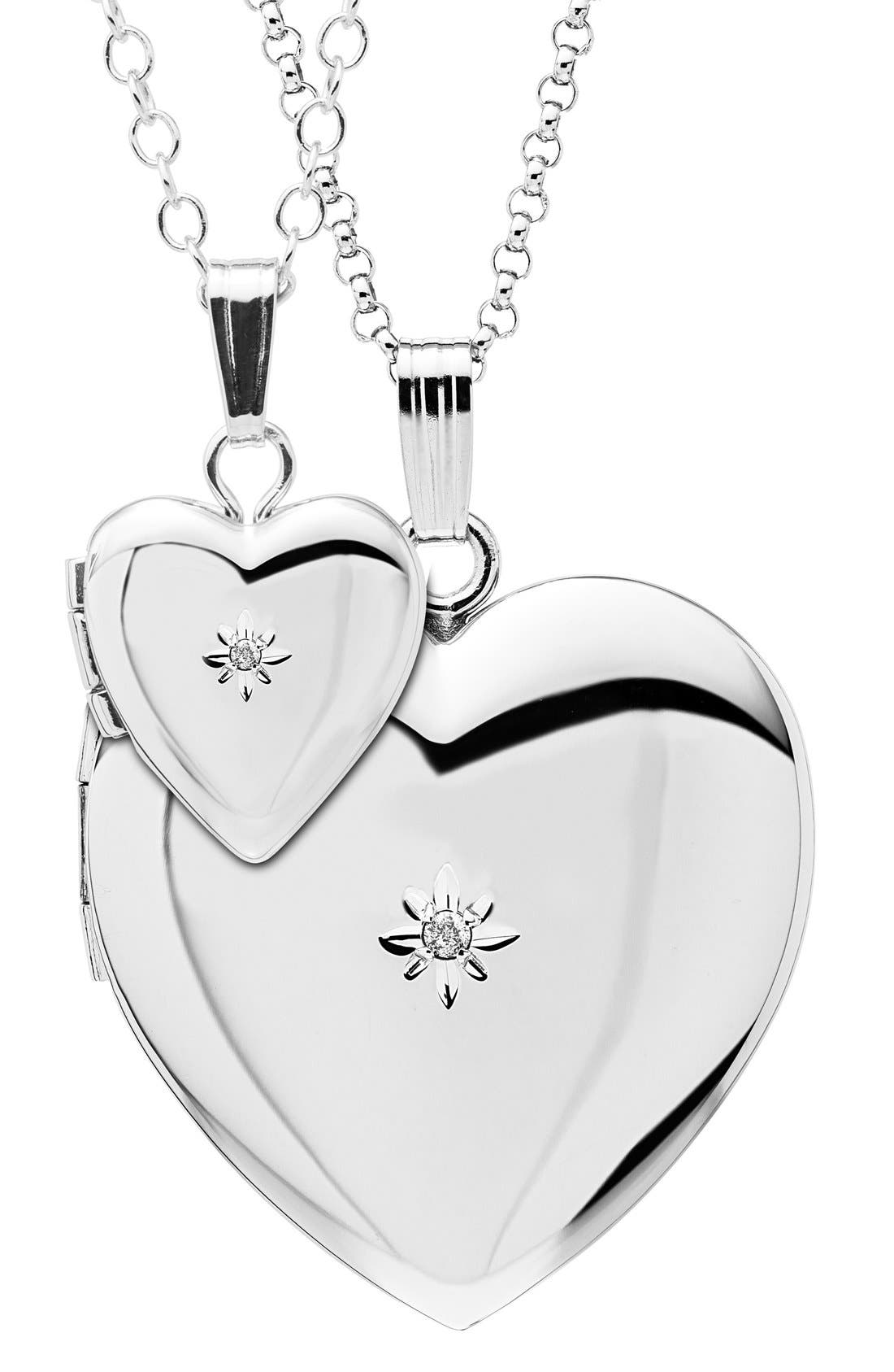 Mother & Daughter Locket Set,                         Main,                         color, SILVER