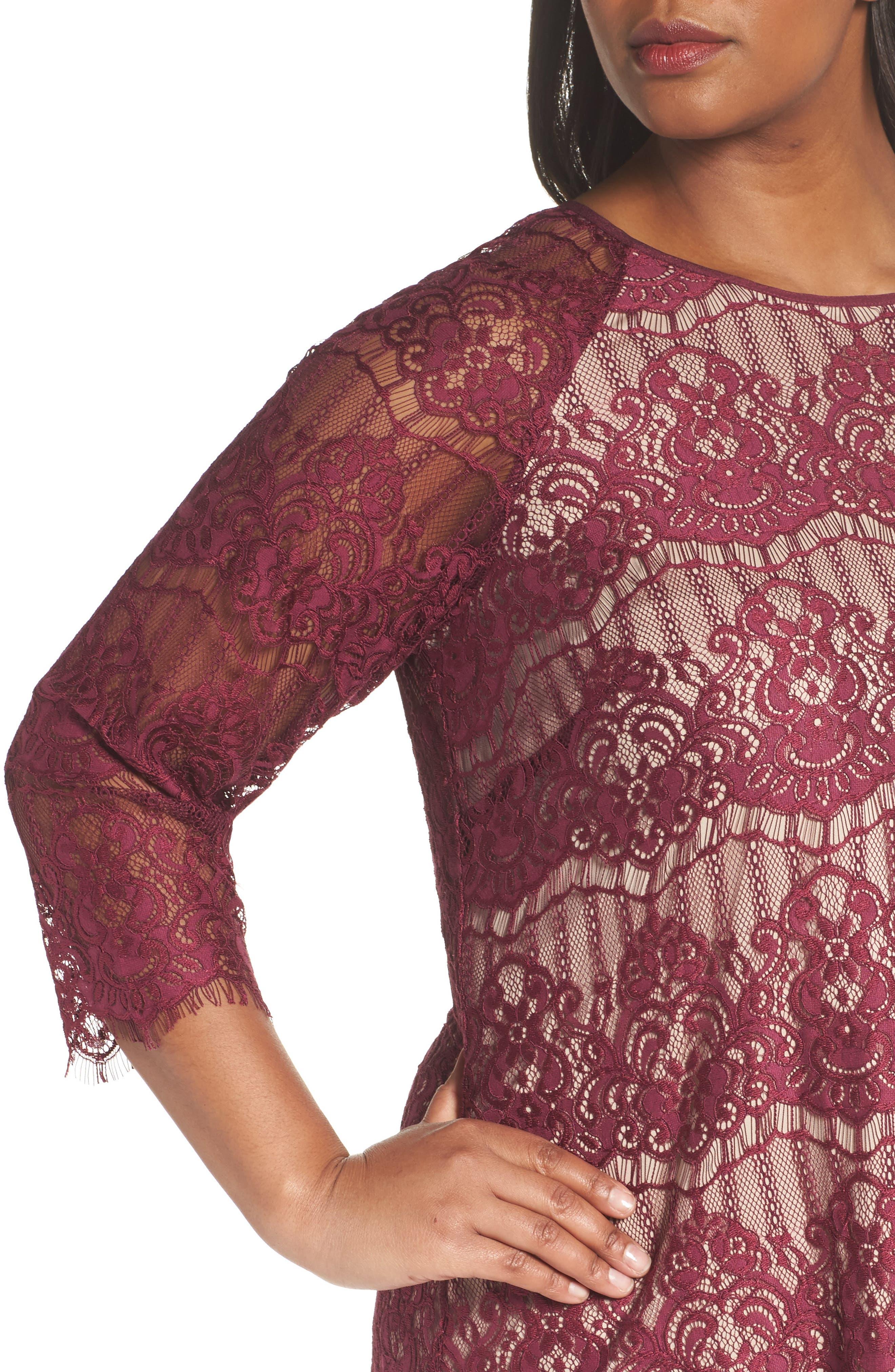 Scalloped Lace Trapeze Dress,                             Alternate thumbnail 4, color,