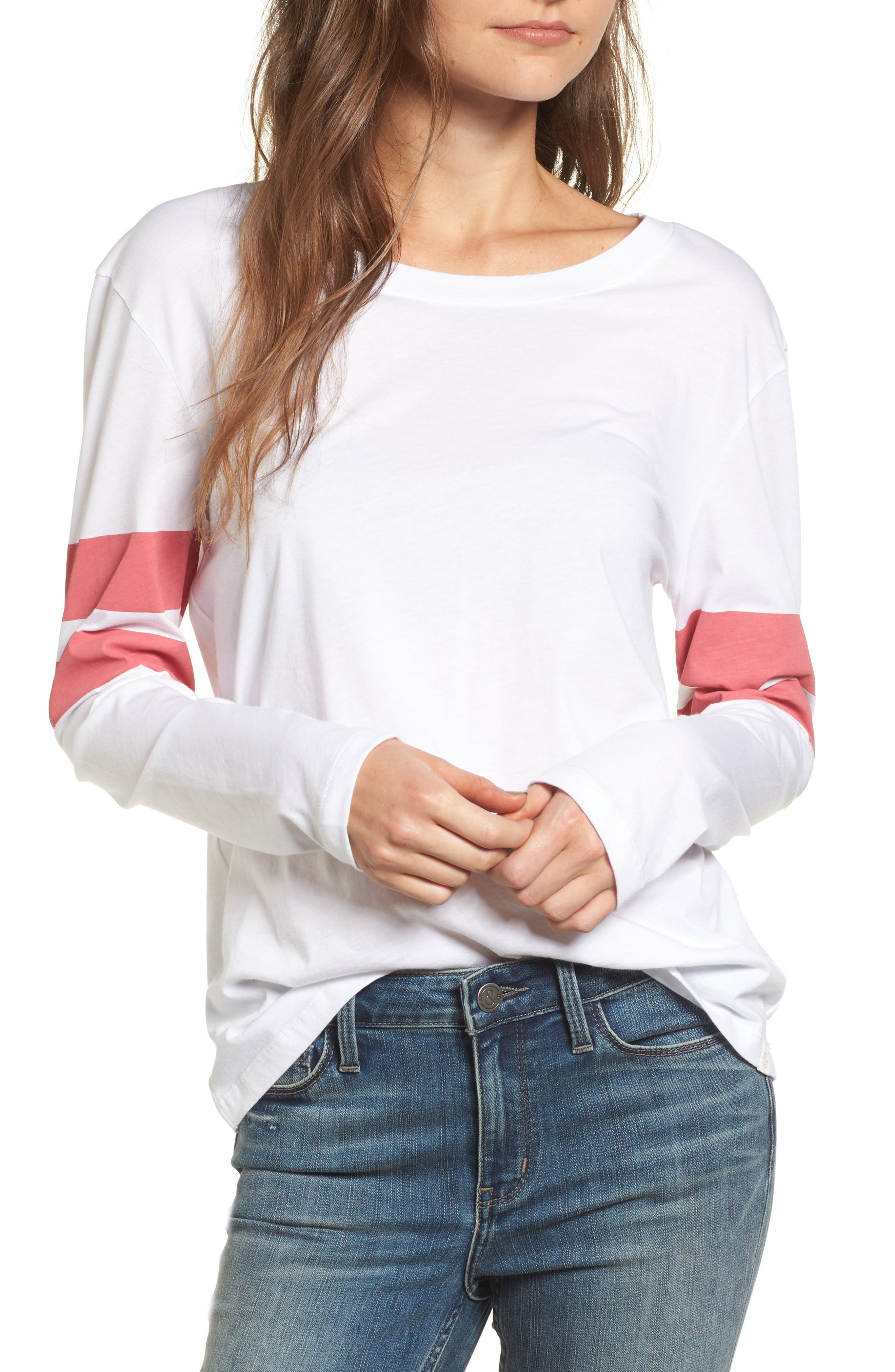 Varsity Stripe Cotton Tee,                             Main thumbnail 4, color,