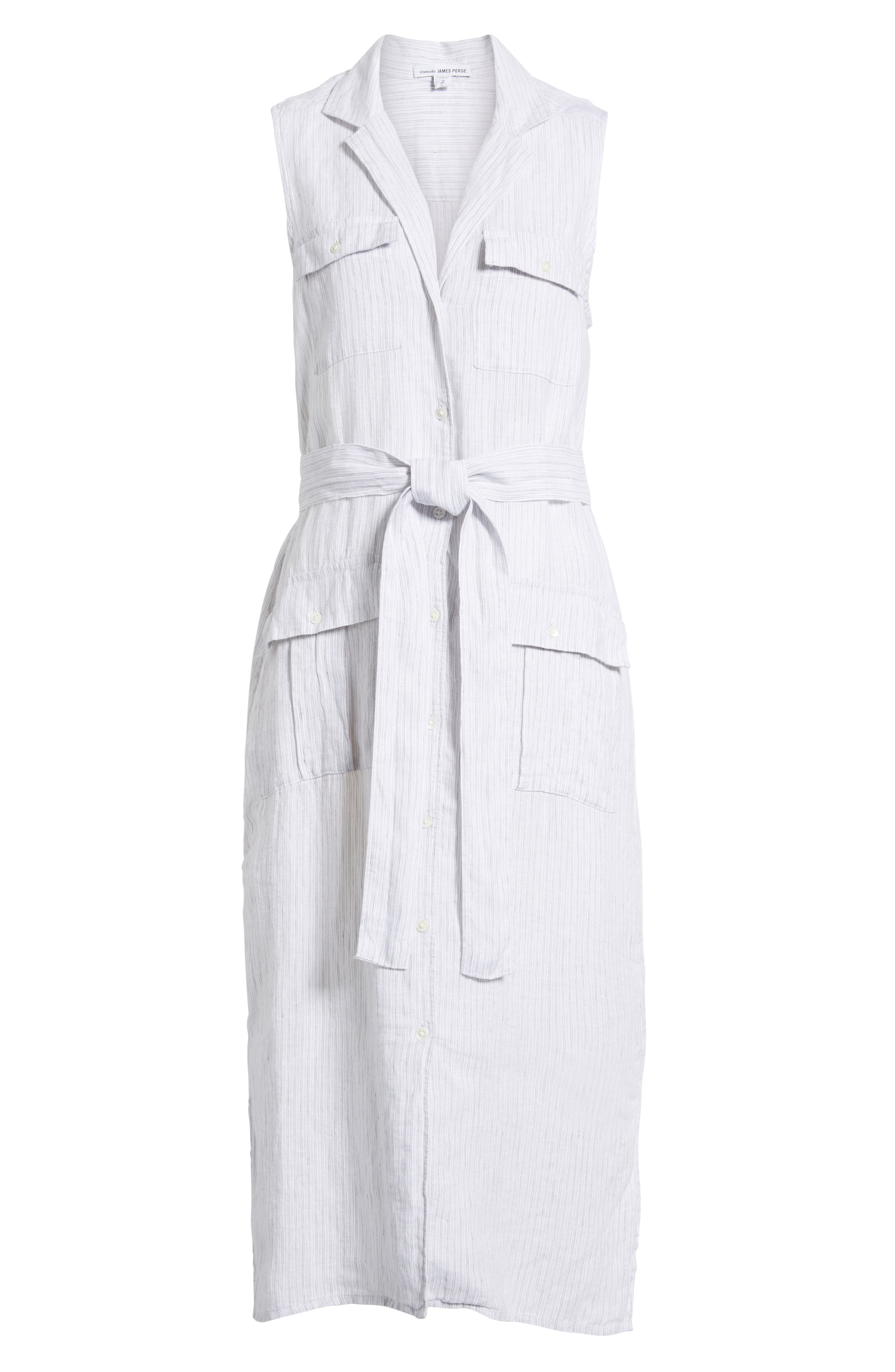 Stripe Linen Shirtdress,                             Alternate thumbnail 6, color,                             053