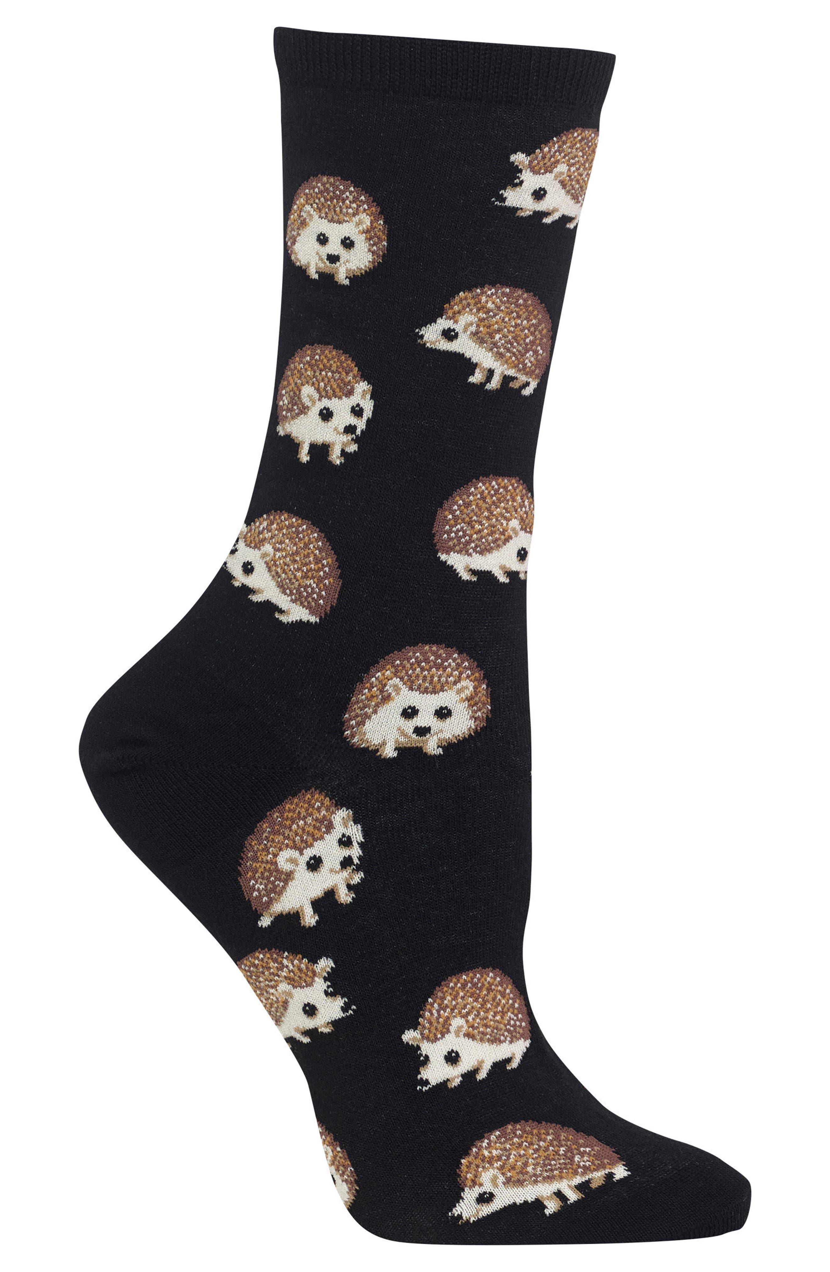Hedgehog Crew Socks,                             Alternate thumbnail 2, color,                             001