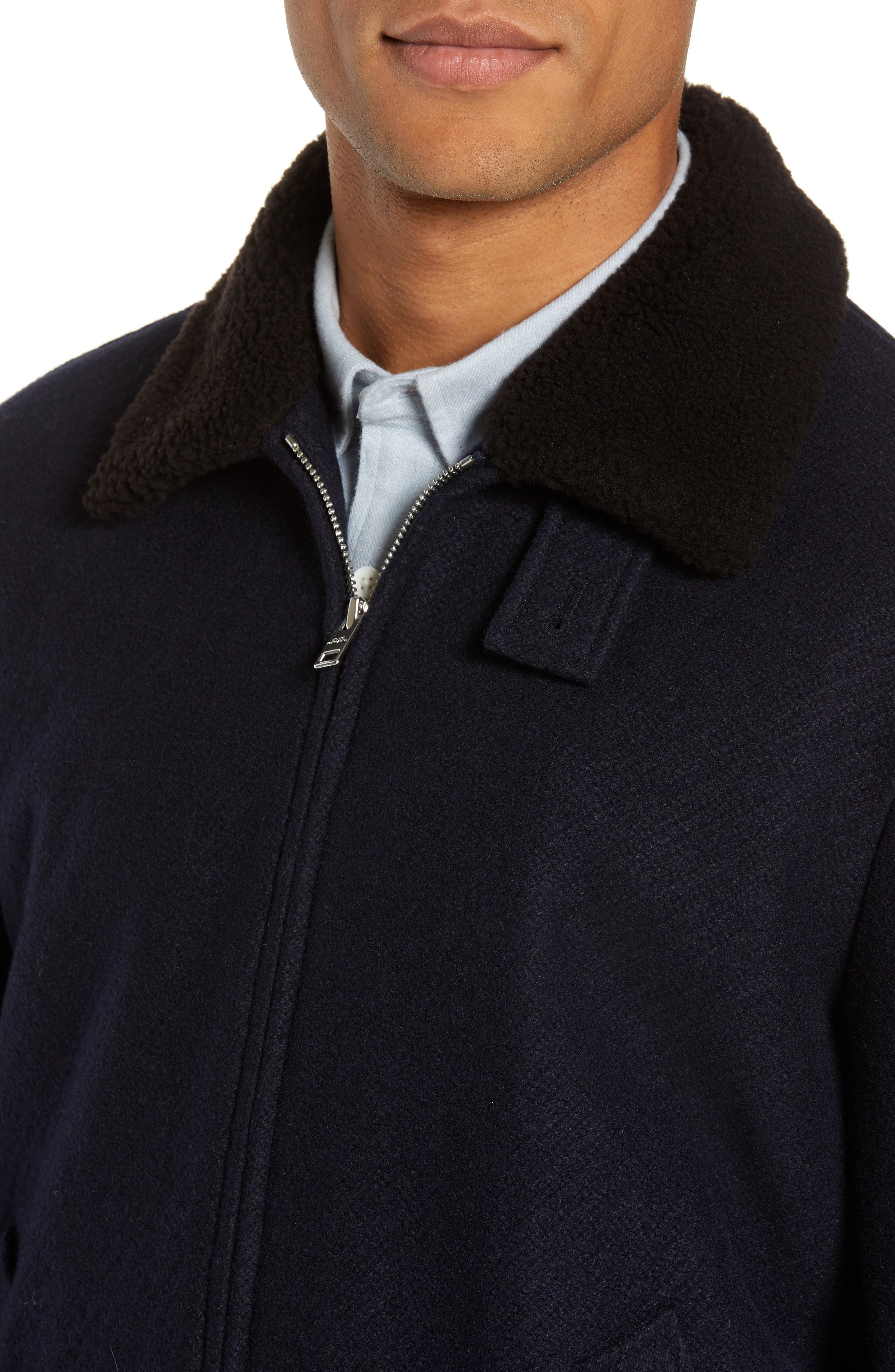Trim Fit Bomber Jacket with Genuine Shearling Collar,                             Alternate thumbnail 4, color,                             NAVY