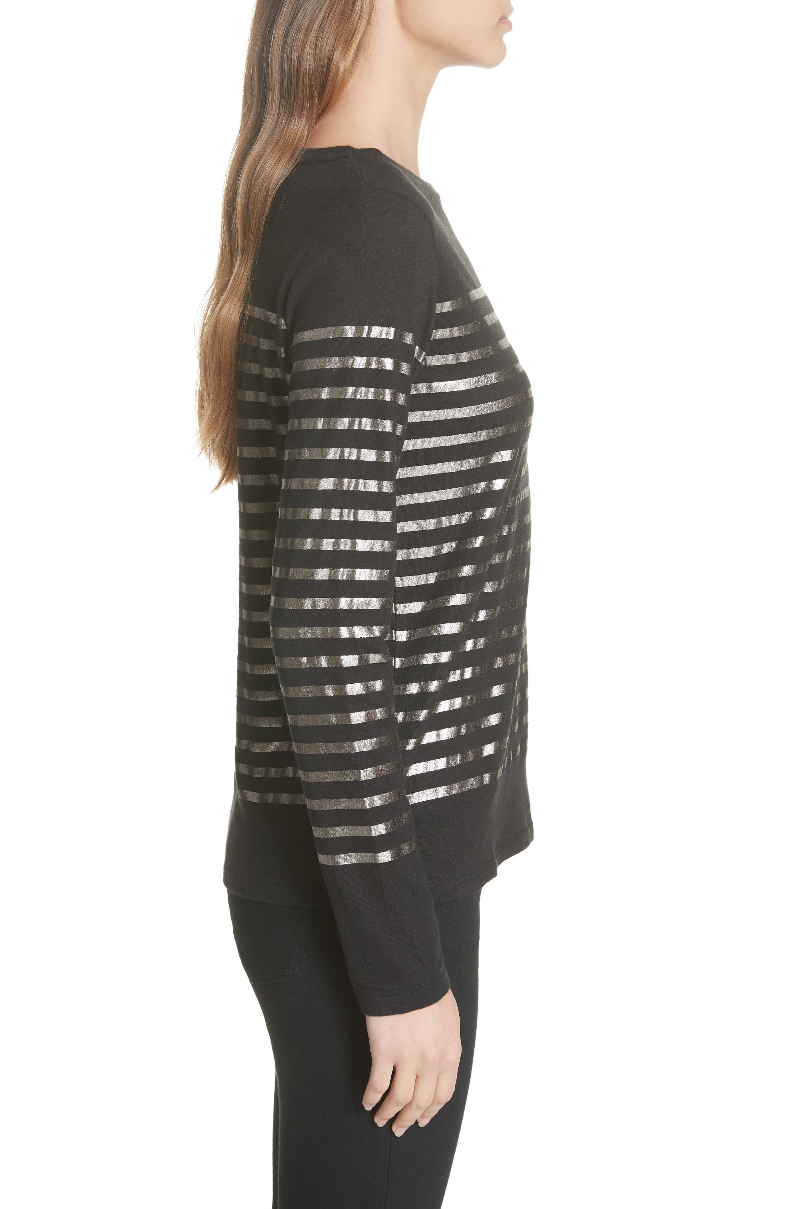 Boxy Stripe Top,                             Alternate thumbnail 3, color,                             NOIR/ GUN METAL