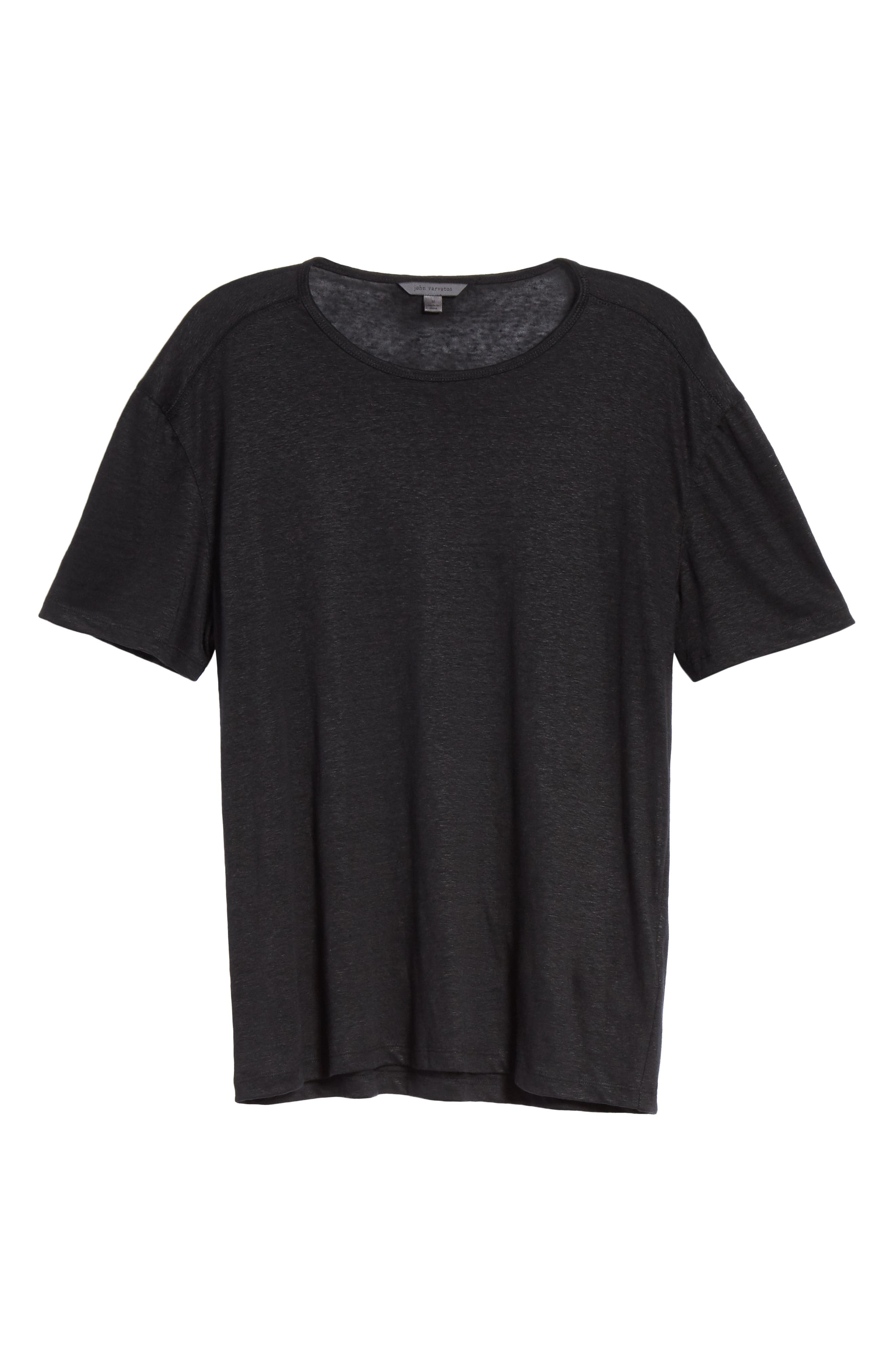 Linen Crewneck T-Shirt,                             Alternate thumbnail 6, color,                             BLACK
