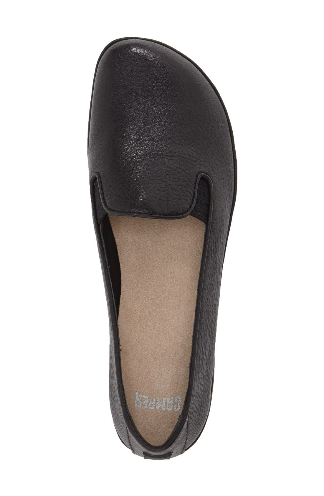 'Right Nina' Leather Flat,                             Alternate thumbnail 3, color,                             BLACK/ BLACK LEATHER