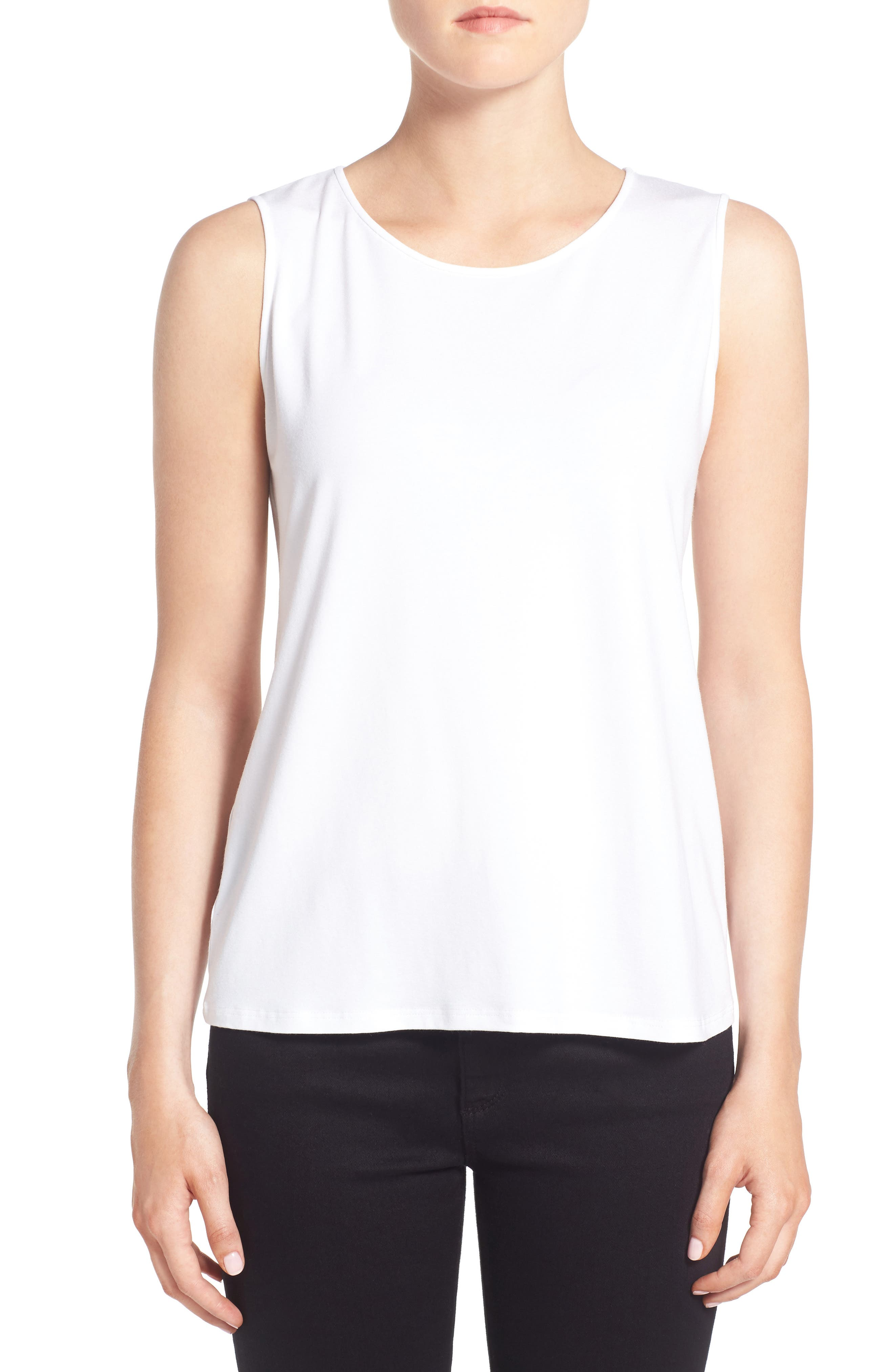 Lightweight Jersey Round Neck Tank,                             Alternate thumbnail 2, color,                             100