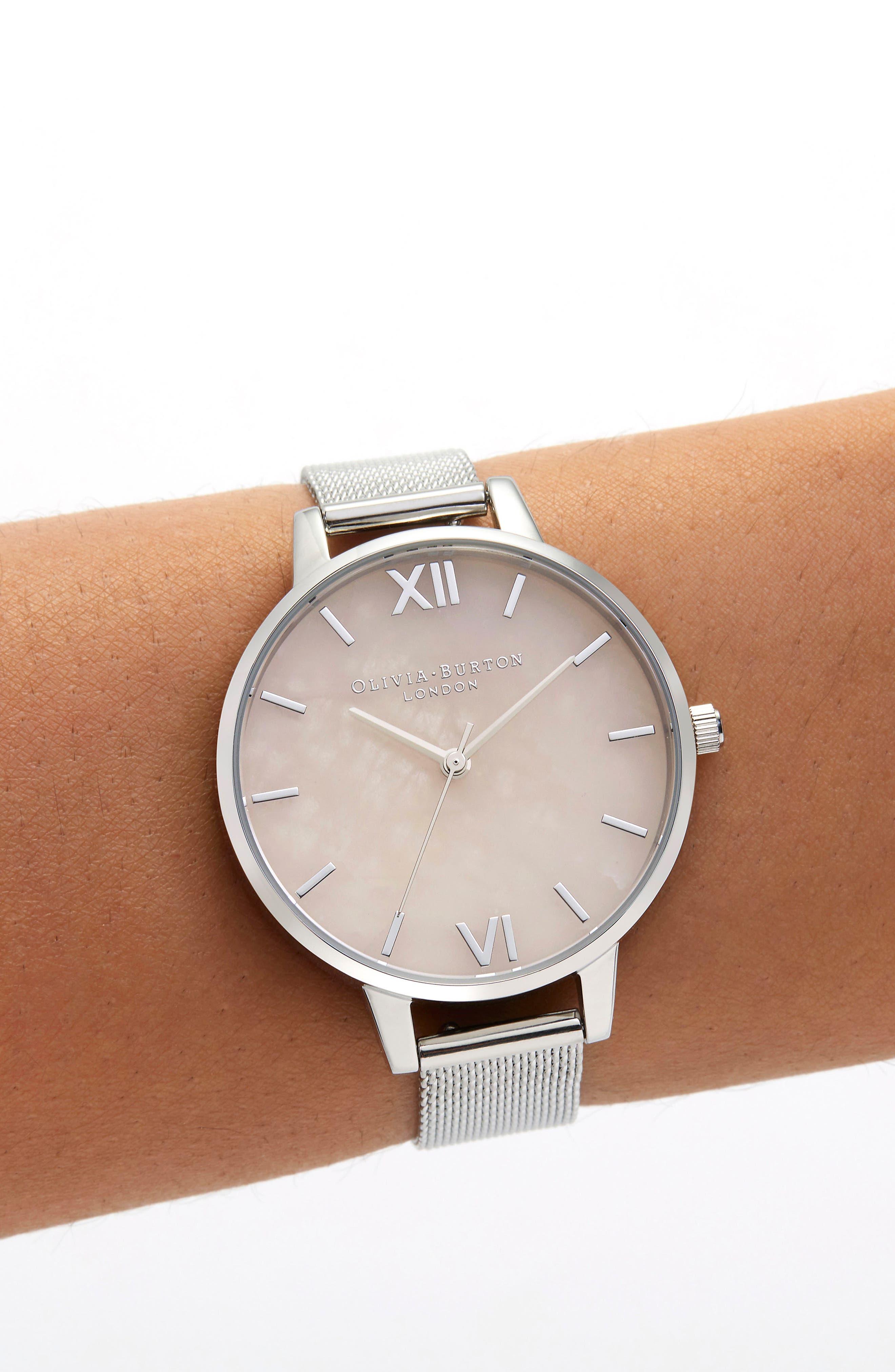 Bracelet Watch, 30mm,                             Alternate thumbnail 2, color,                             SILVER/ ROSE QUARTZ/ SILVER