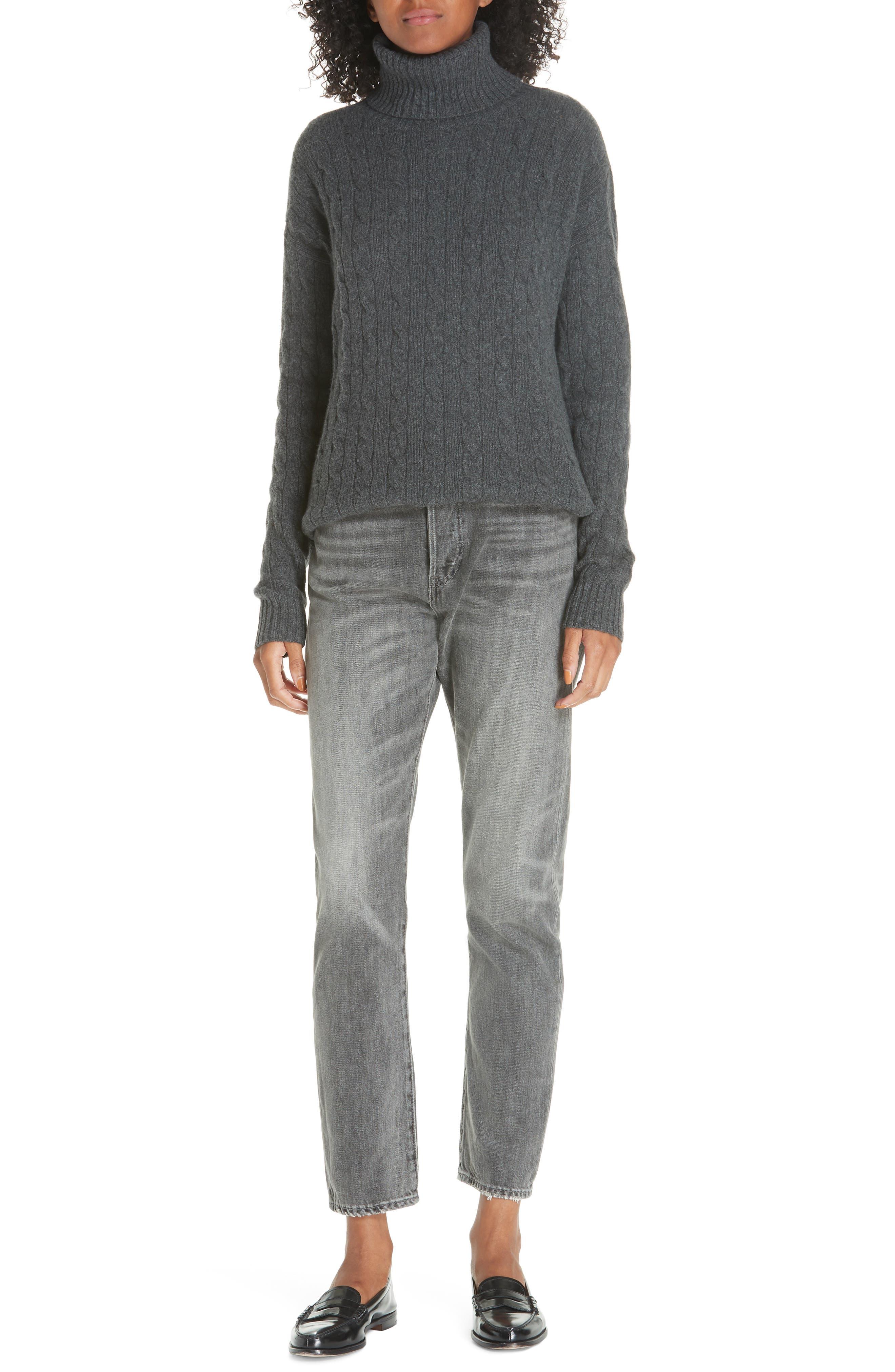 High Waist Slim Straight Crop Jeans,                             Alternate thumbnail 7, color,                             GREY