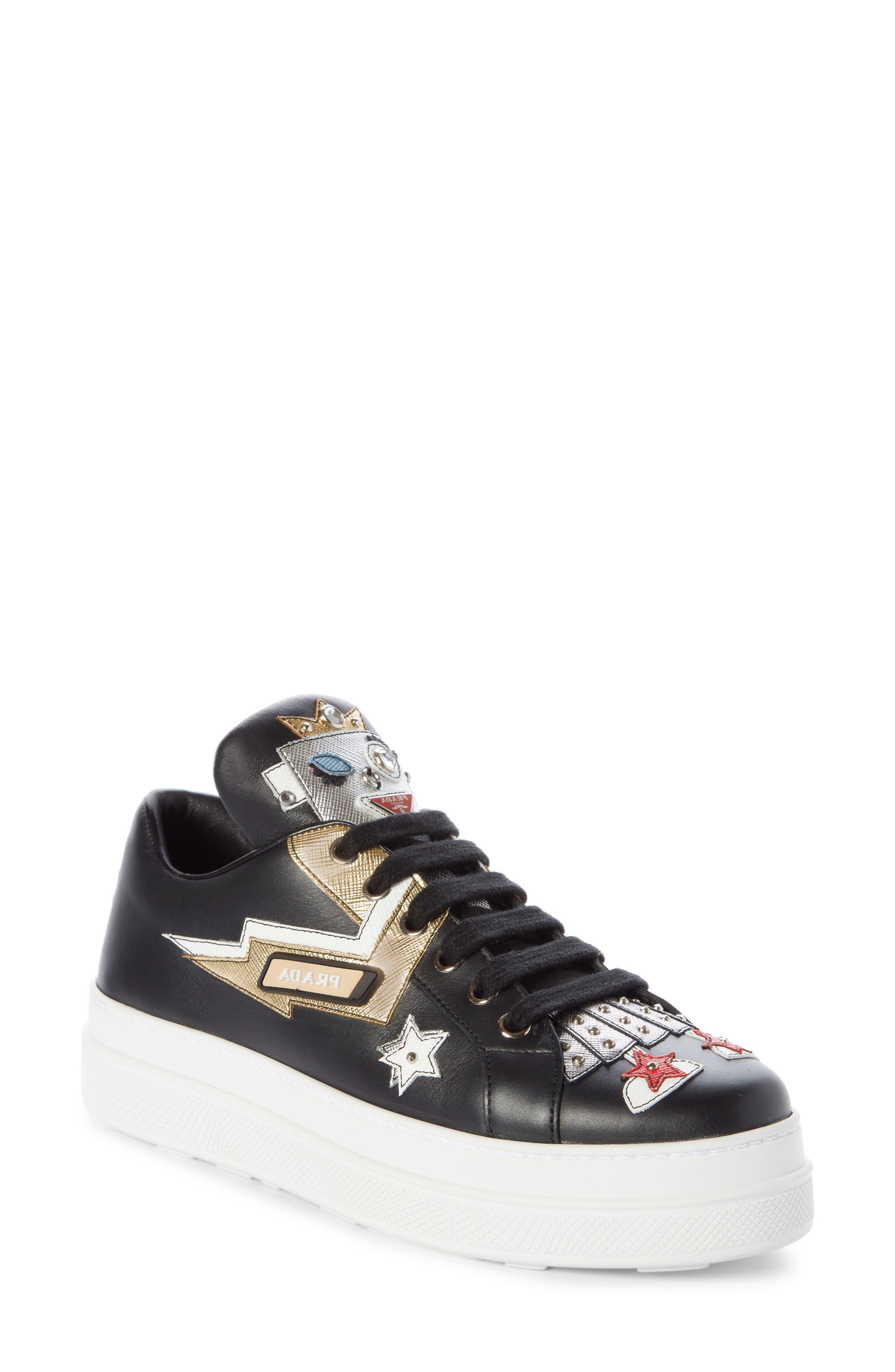 Embellished Platform Sneaker,                             Main thumbnail 1, color,                             BLACK/ WHITE