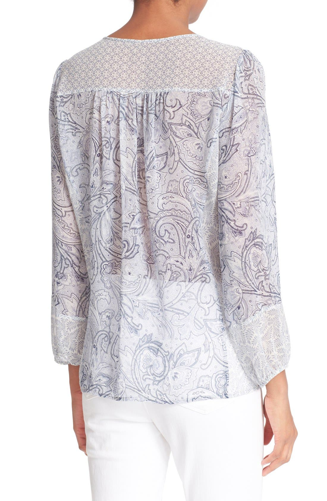 JOIE,                             'Acerila' Mixed Print Silk Peasant Top,                             Alternate thumbnail 3, color,                             430