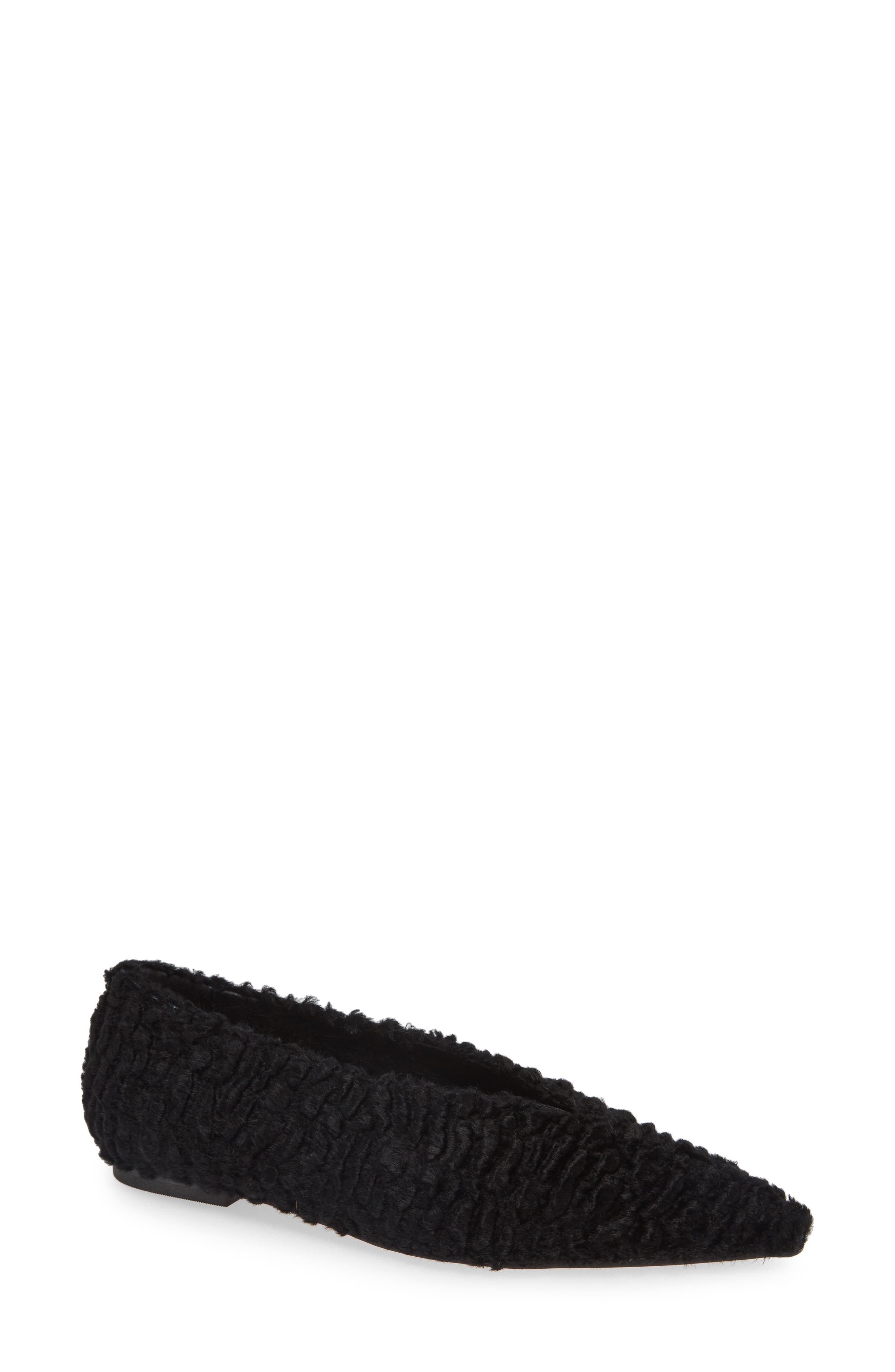 Black Suede Studio Tasia Faux Fur Flat- Black