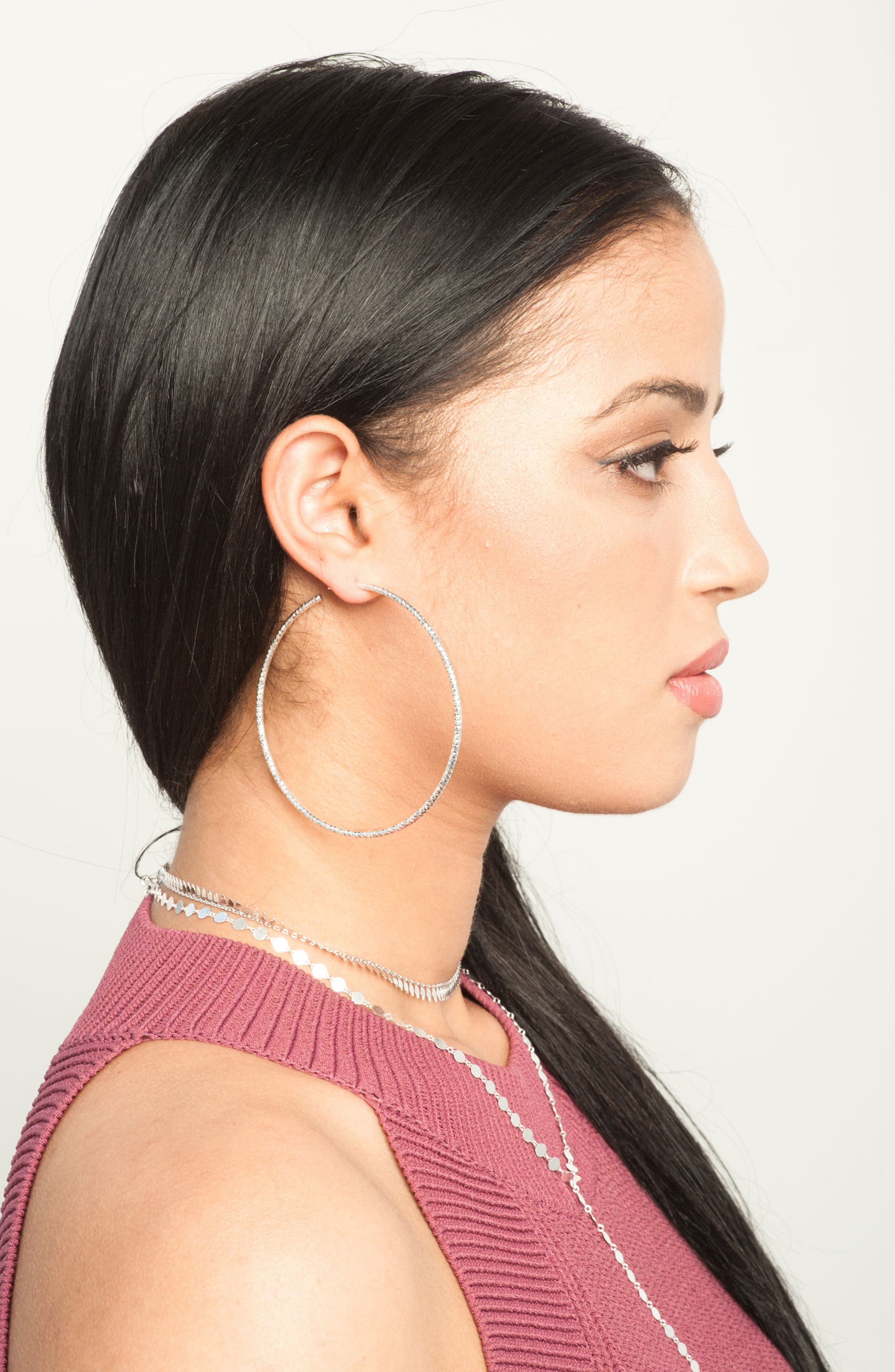 Extra Large Hammered Hoop Earrings,                             Alternate thumbnail 3, color,                             SILVER