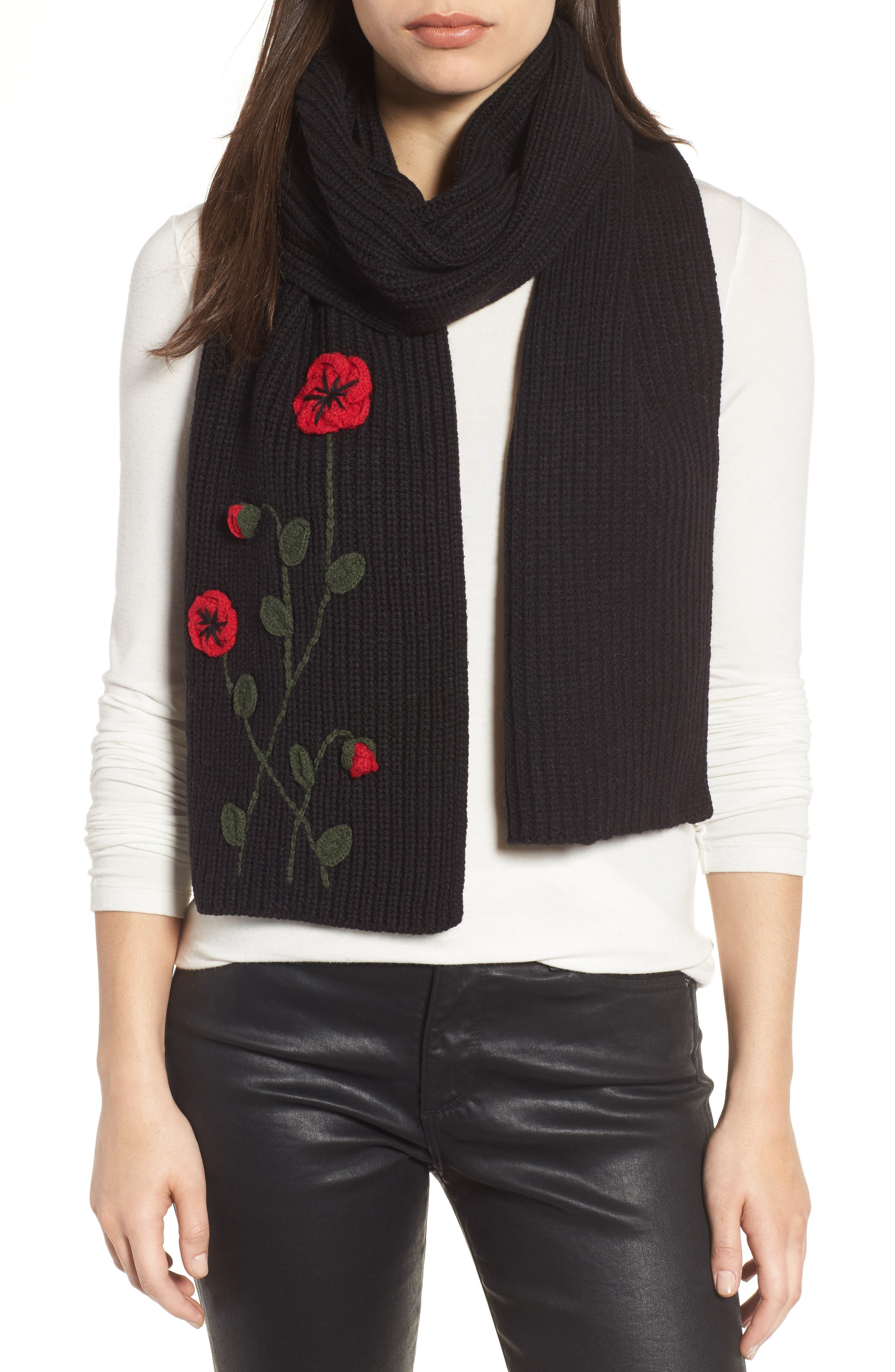 crochet poppy scarf,                             Main thumbnail 1, color,                             001
