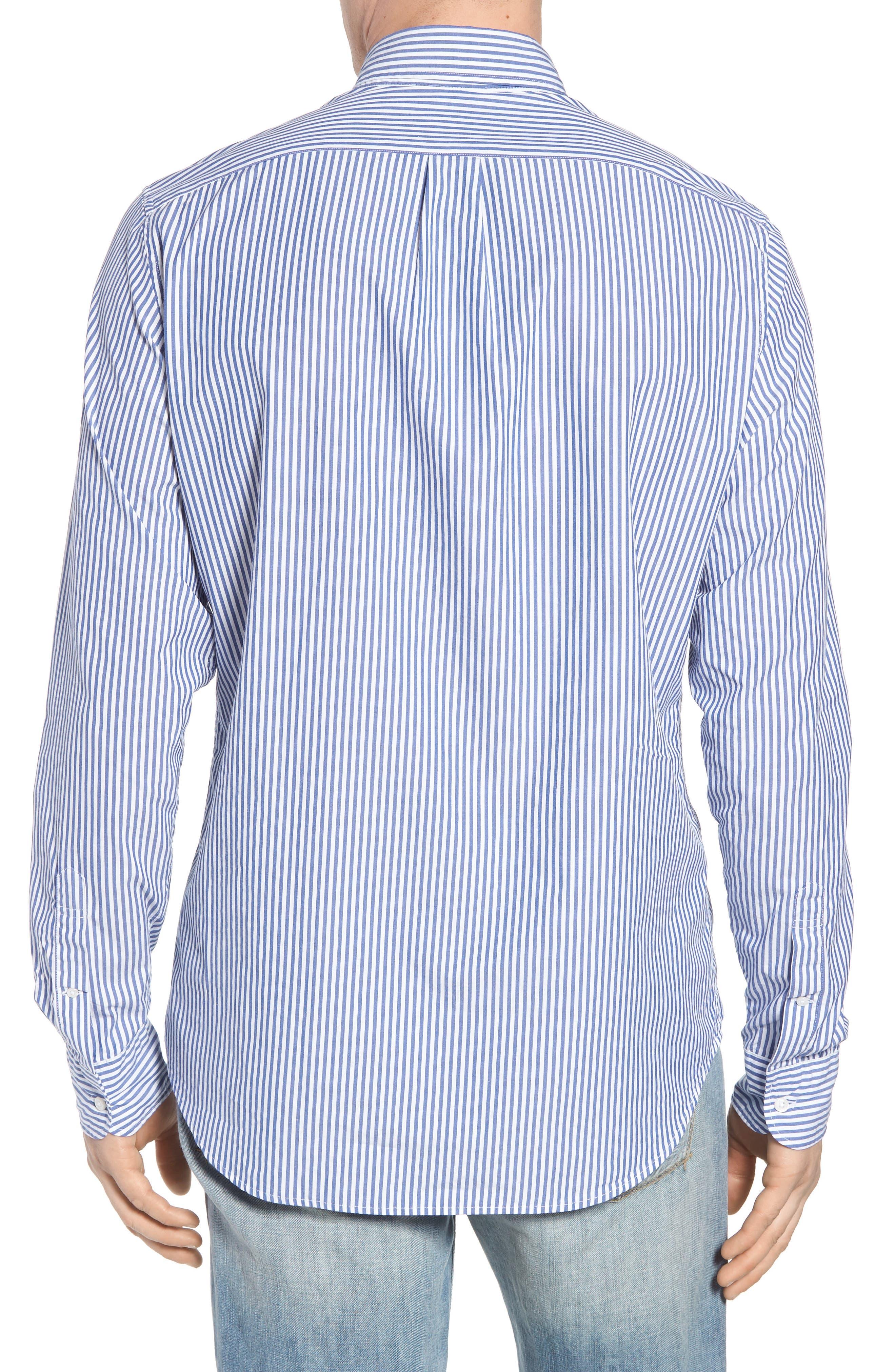 Classic Fit Stretch Secret Wash Stripe Sport Shirt,                             Alternate thumbnail 2, color,                             408