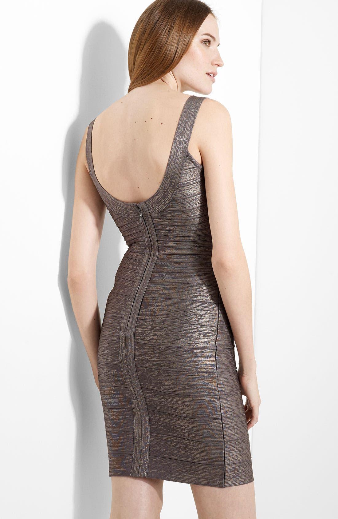 U-Neck Foil Bandage Dress,                             Alternate thumbnail 2, color,                             098