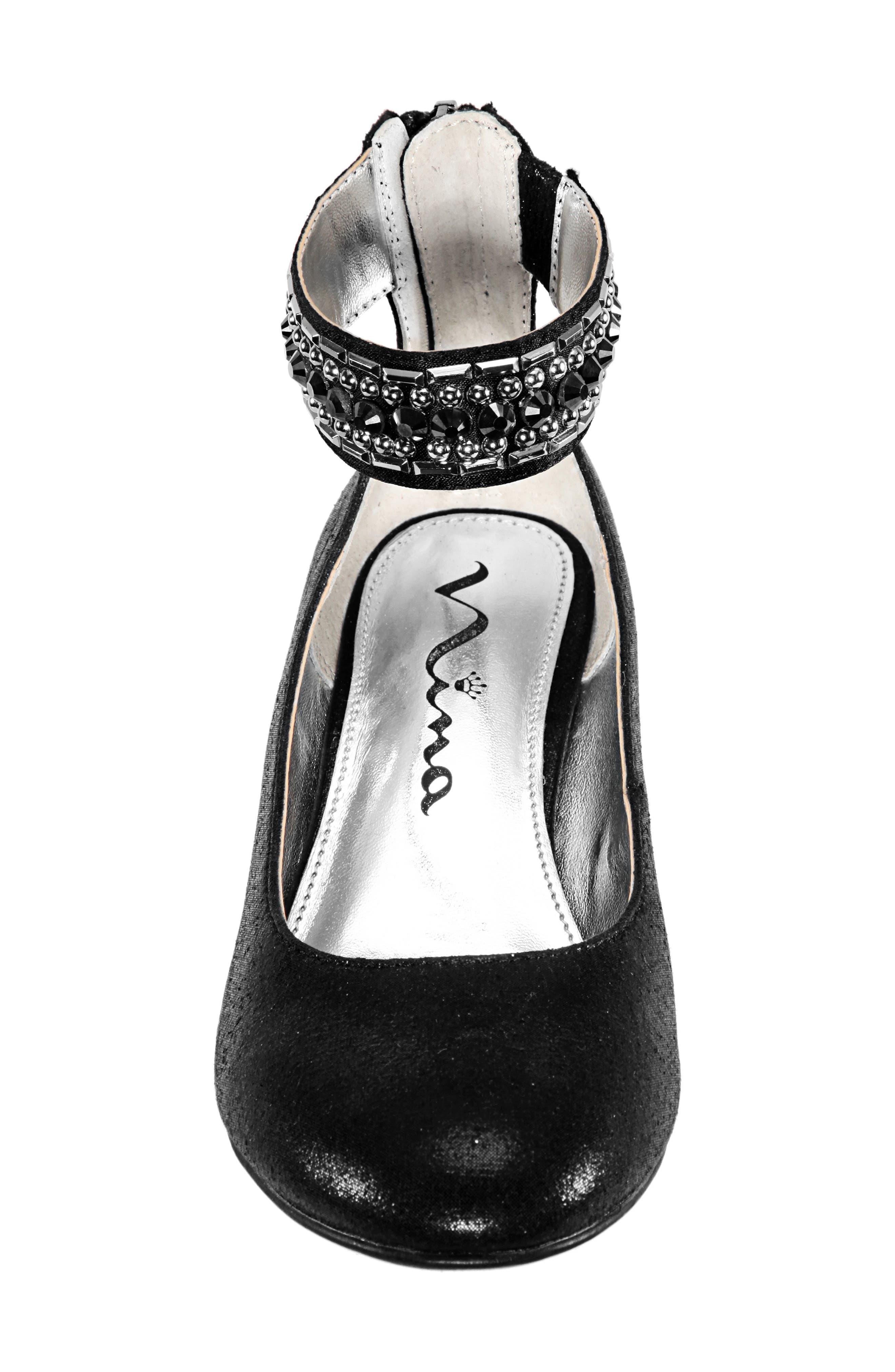 Charleen Ankle Strap Pump,                             Alternate thumbnail 4, color,                             BLACK SHIMMER FABRIC