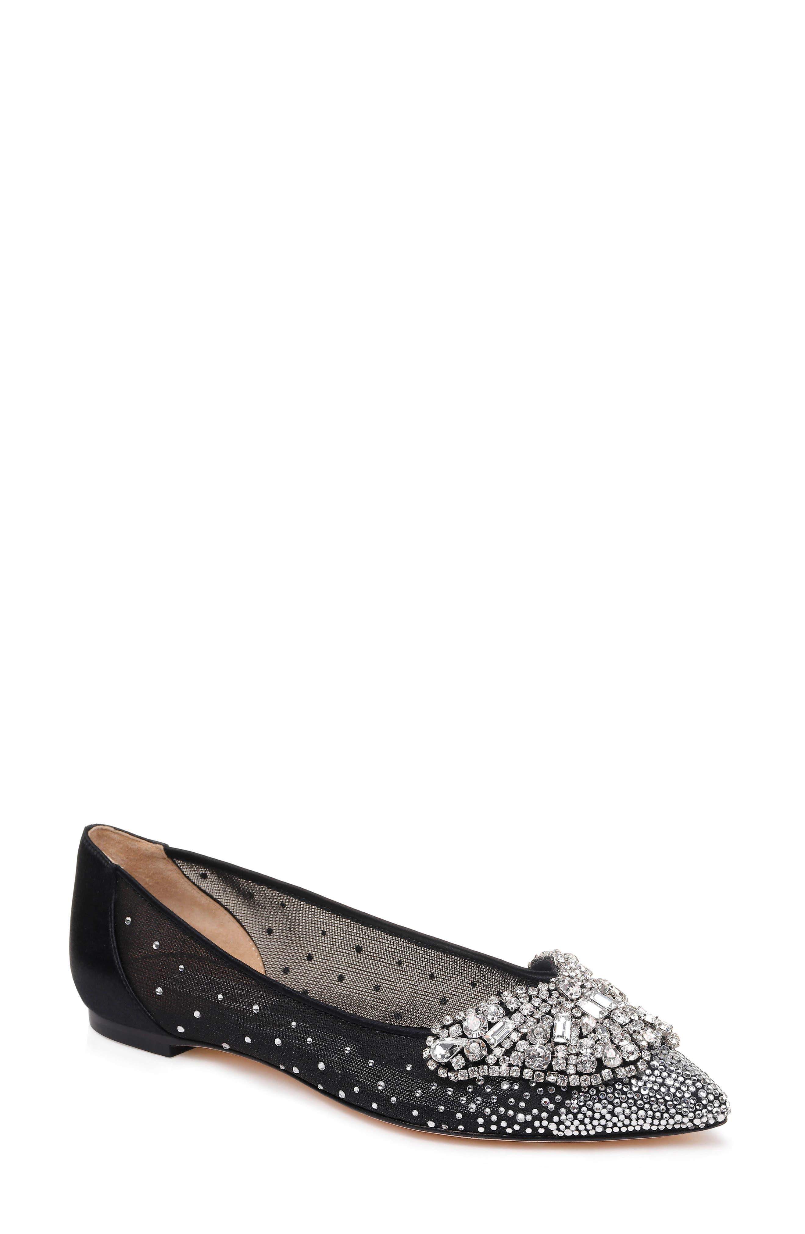 BADGLEY MISCHKA Women'S Quinn Crystal Embellished Pointed Toe Flats in Black Satin/ Mesh
