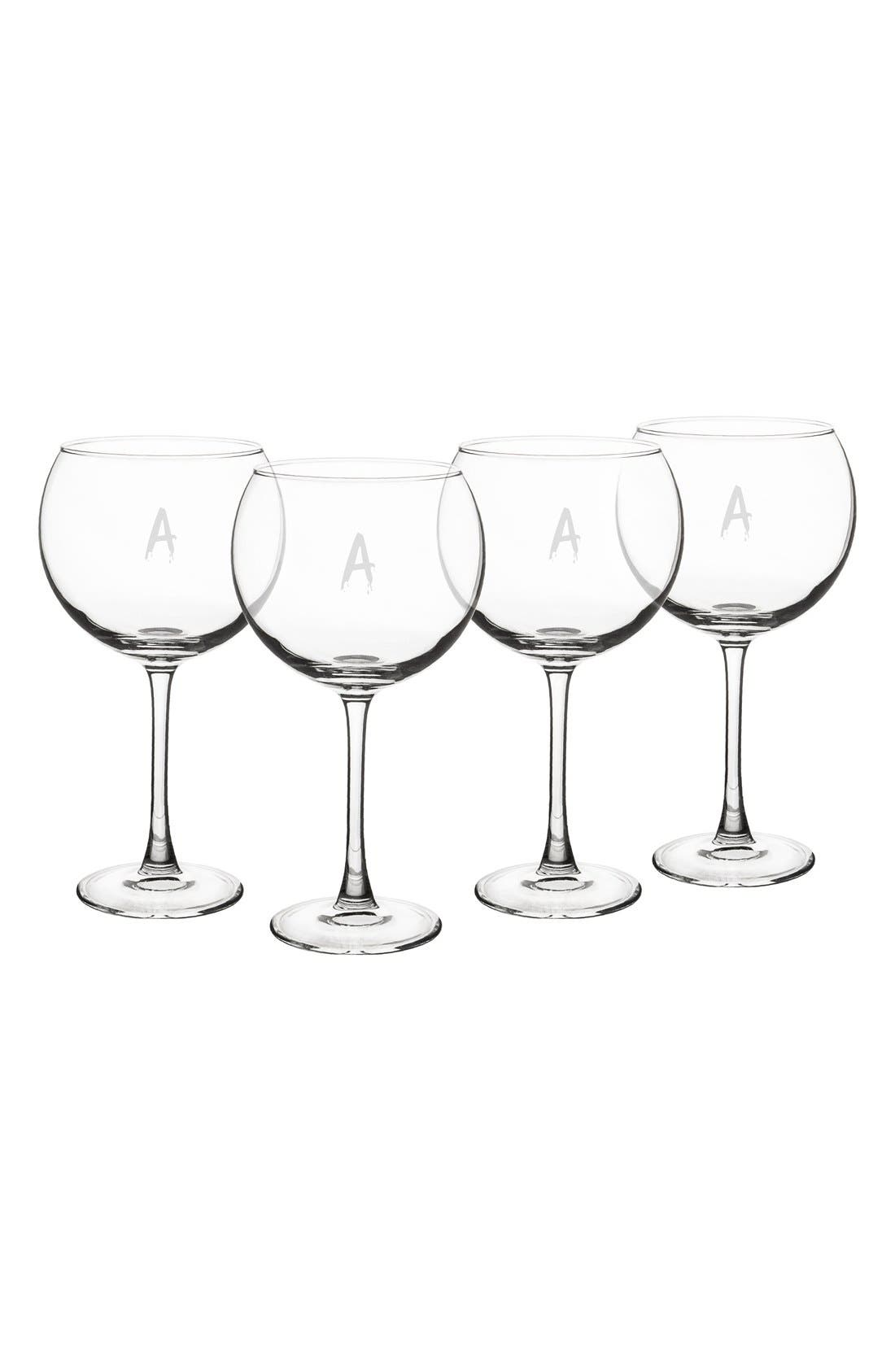 Spooky Monogram Set of 4 Red Wine Glasses,                         Main,                         color, 100
