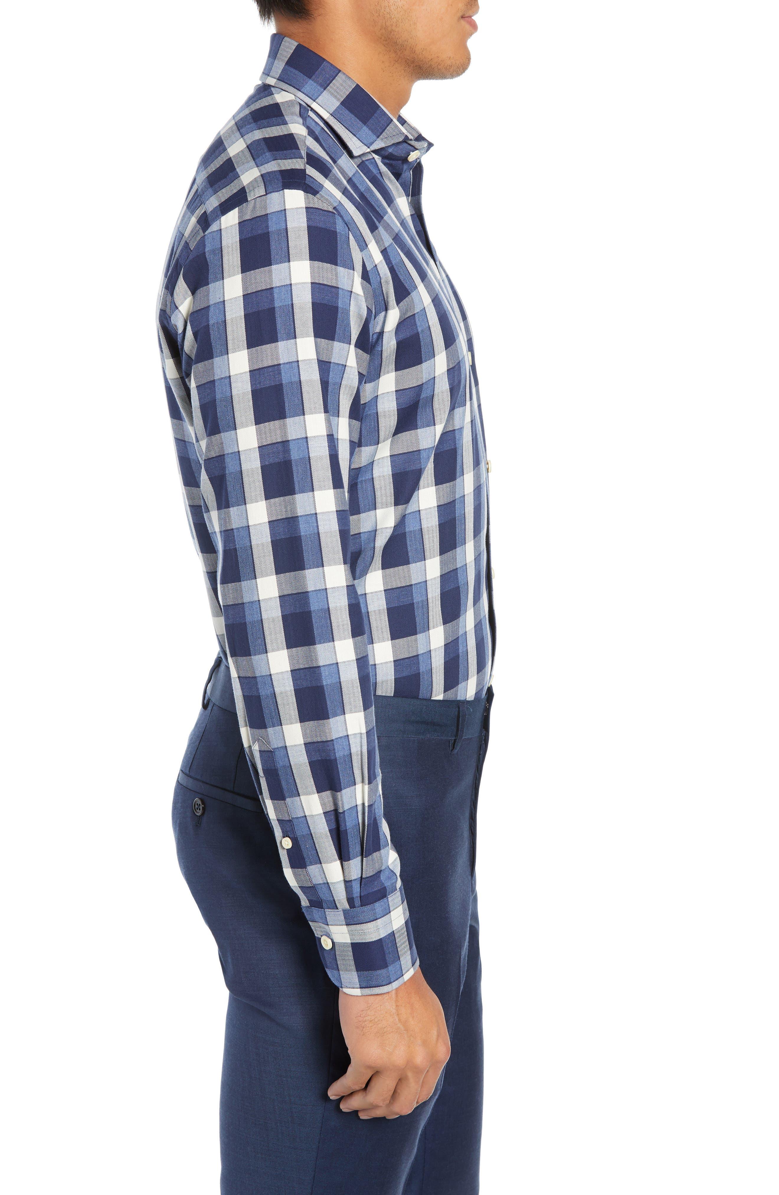 LEDBURY,                             The Dietz Slim Fit Plaid Dress Shirt,                             Alternate thumbnail 4, color,                             410