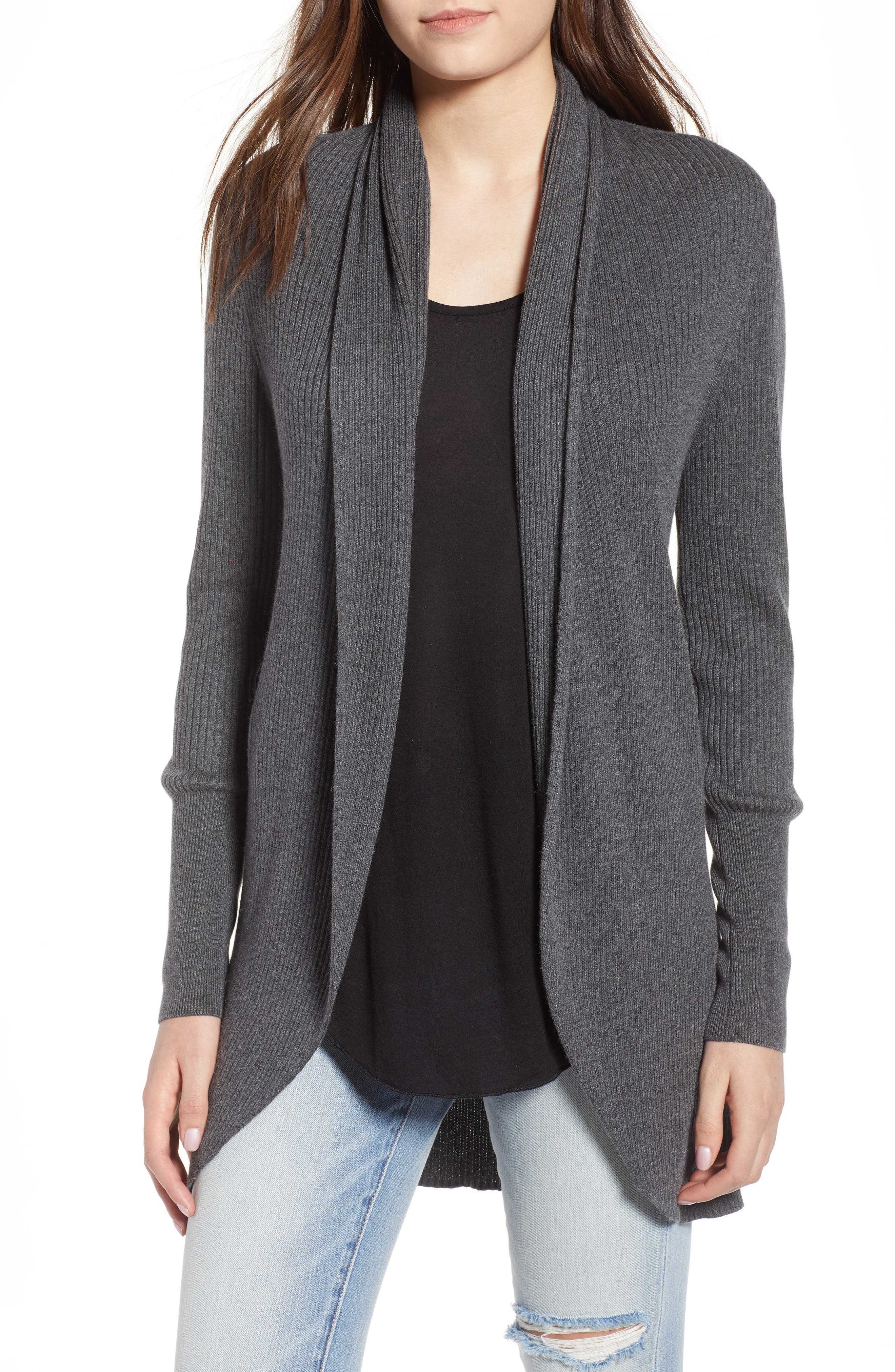 Ribbed Shawl Cocoon Sweater,                         Main,                         color, GREY MEDIUM CHARCOAL HEATHER