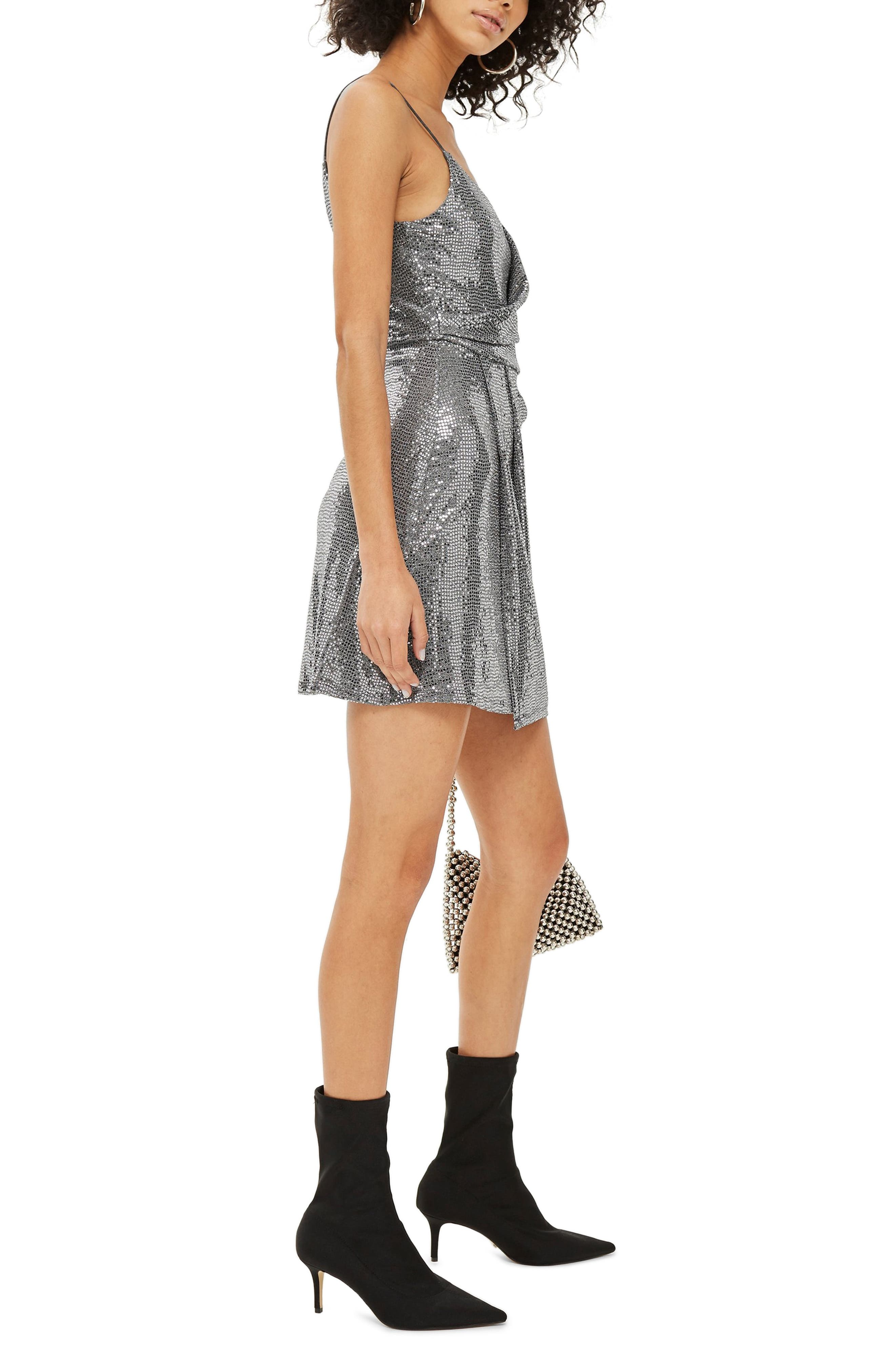 Sequin Minidress,                             Alternate thumbnail 3, color,                             SILVER