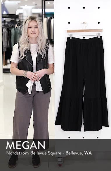 Ruffle Hem Linen Blend Crop Pants, sales video thumbnail