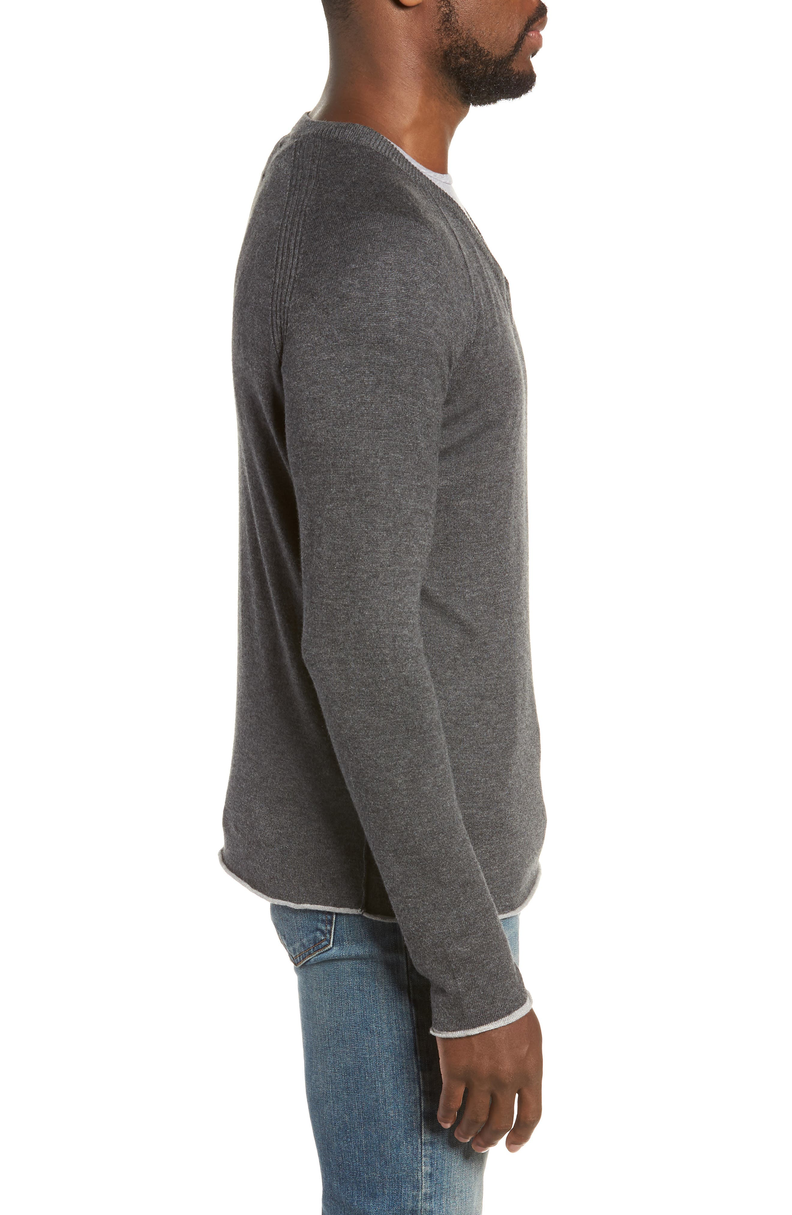 Salinas Cash V-Neck Sweater,                             Alternate thumbnail 3, color,                             CHARCOAL HEATHER