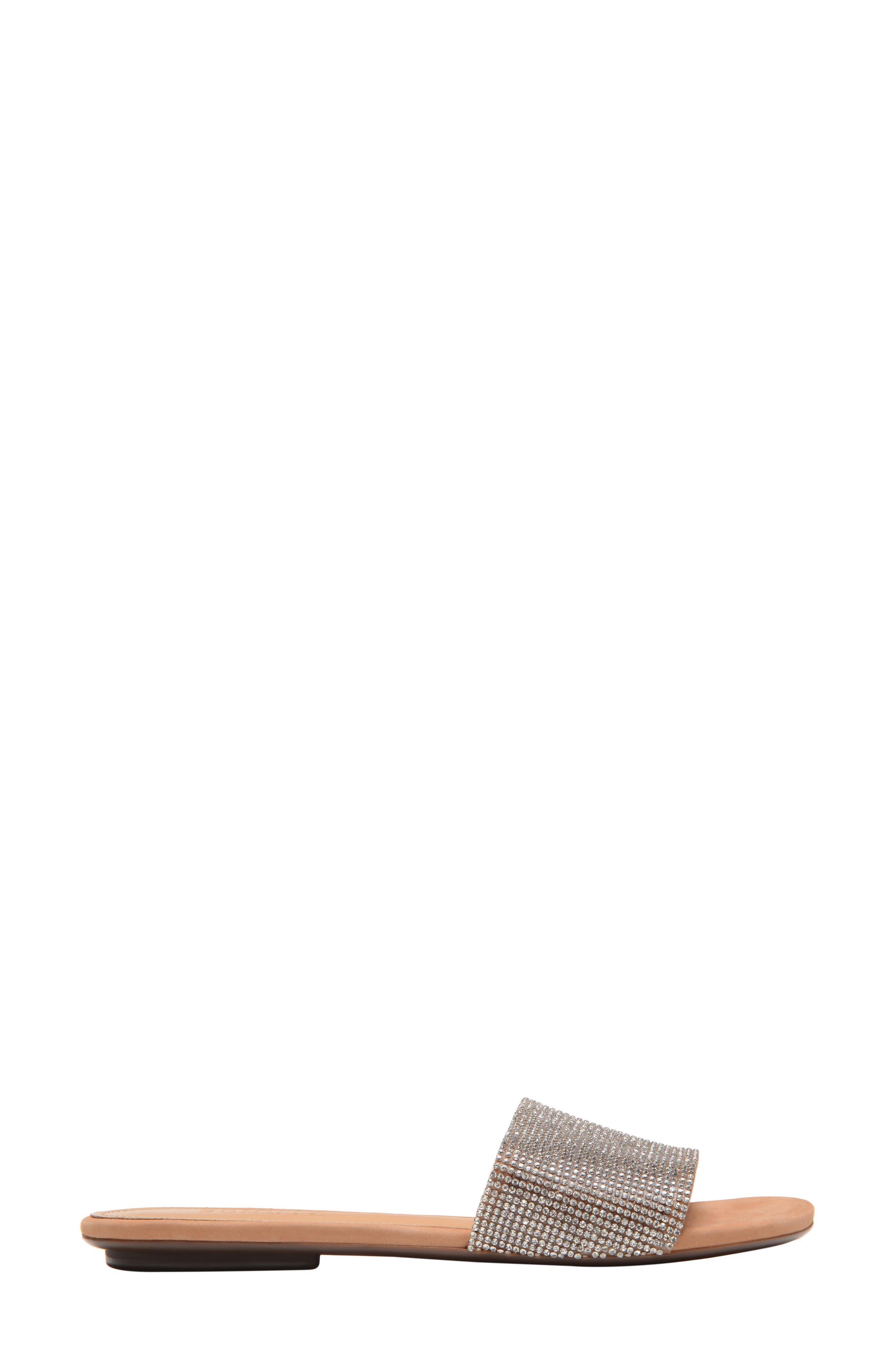 Queren Embellished Slide Sandal,                             Alternate thumbnail 3, color,                             CRISTAL