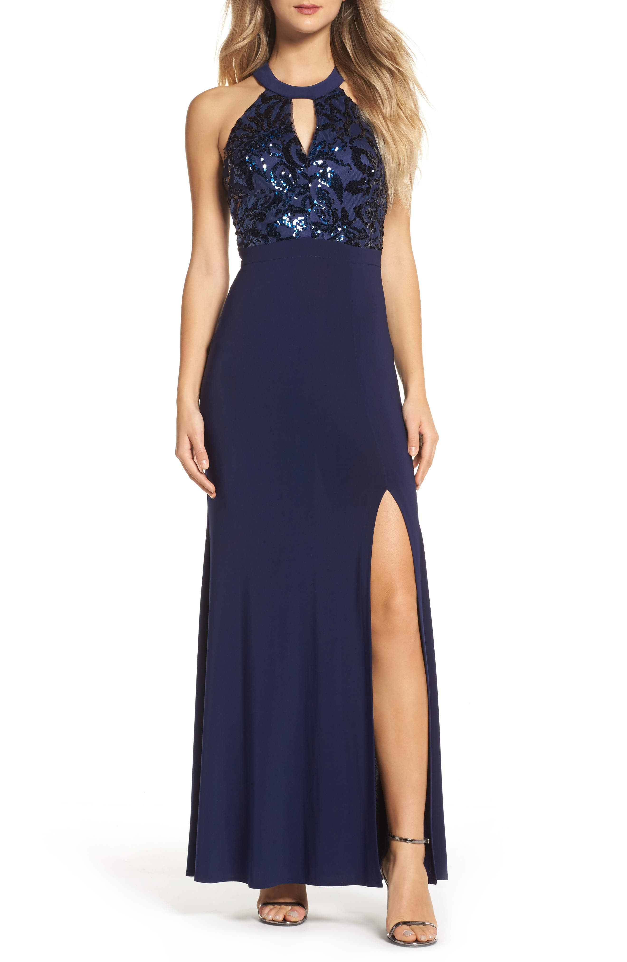 Sequin Halter Neck Gown,                         Main,                         color, NAVY