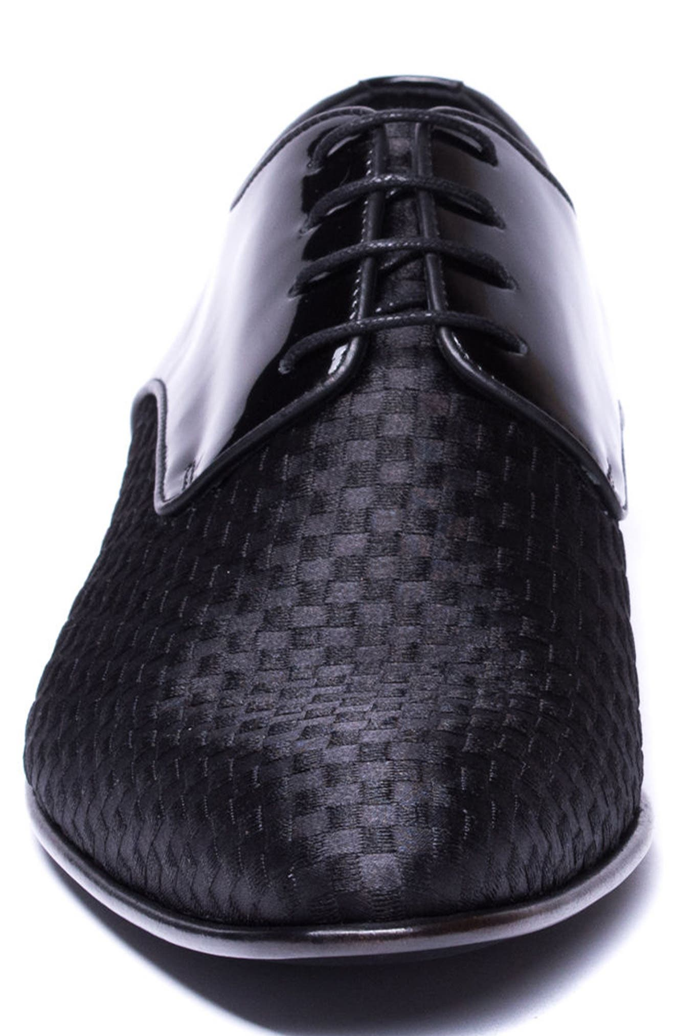 JARED LANG,                             Marco Checkerboard Derby,                             Alternate thumbnail 4, color,                             BLACK LEATHER