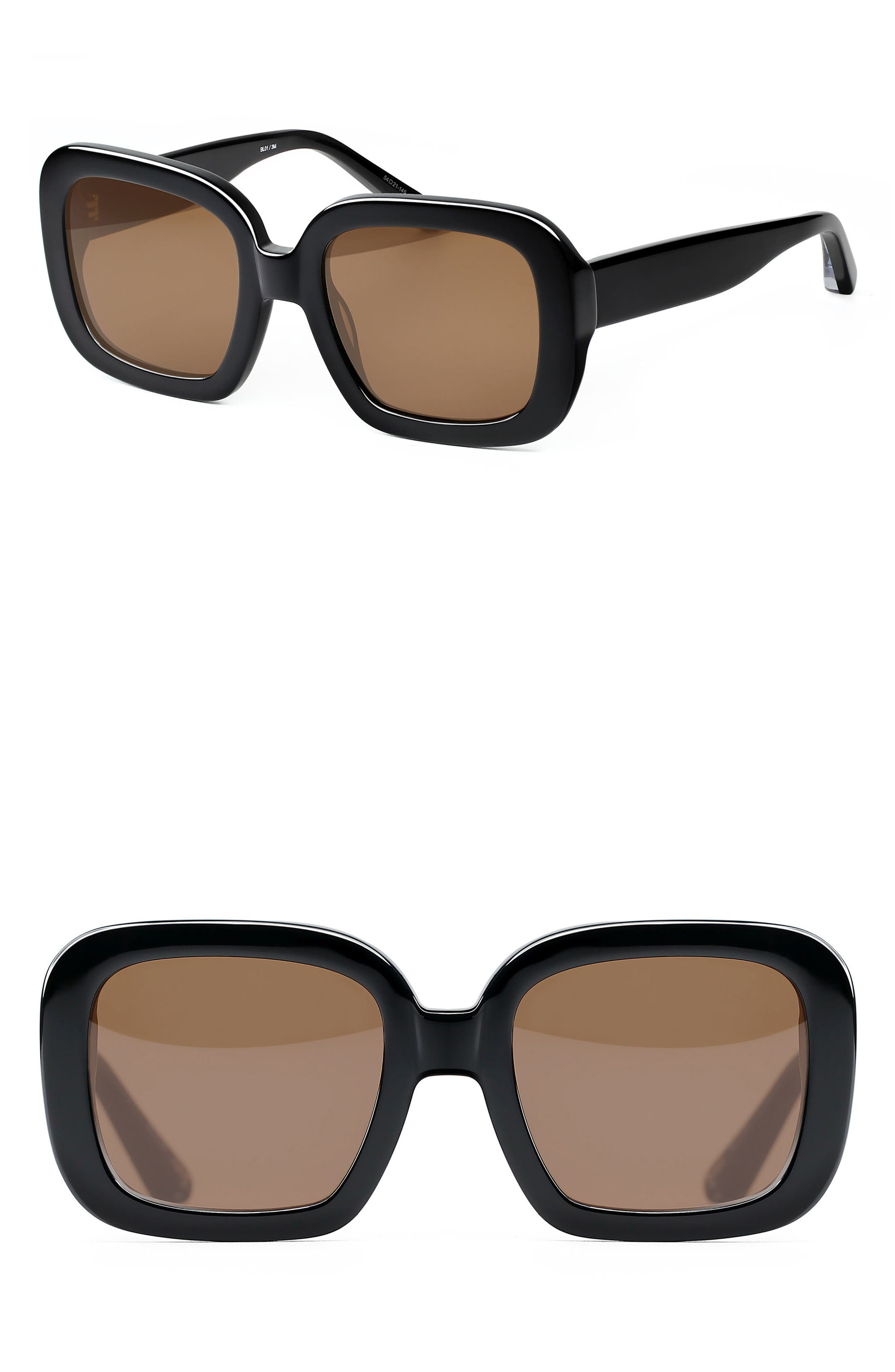 Haley 54mm Square Sunglasses,                             Main thumbnail 1, color,                             001