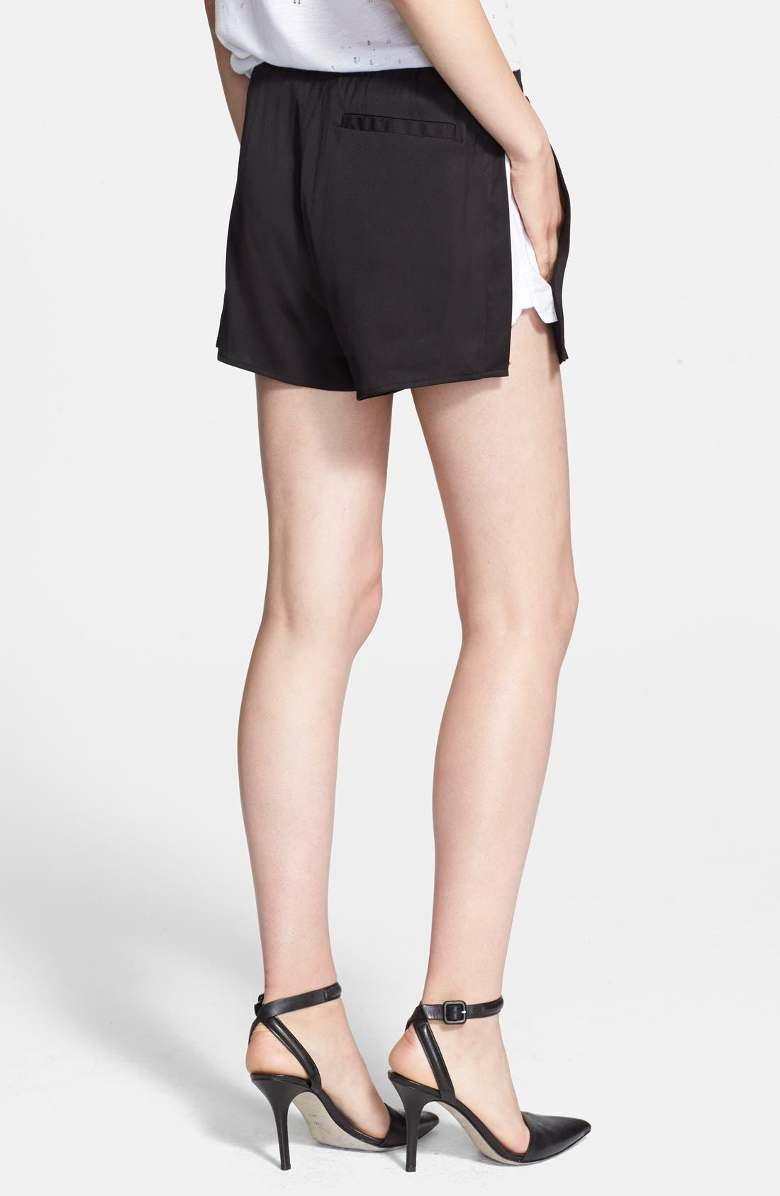 T by Alexander Wang Stretch Silk Twill Shorts,                         Main,                         color, 001