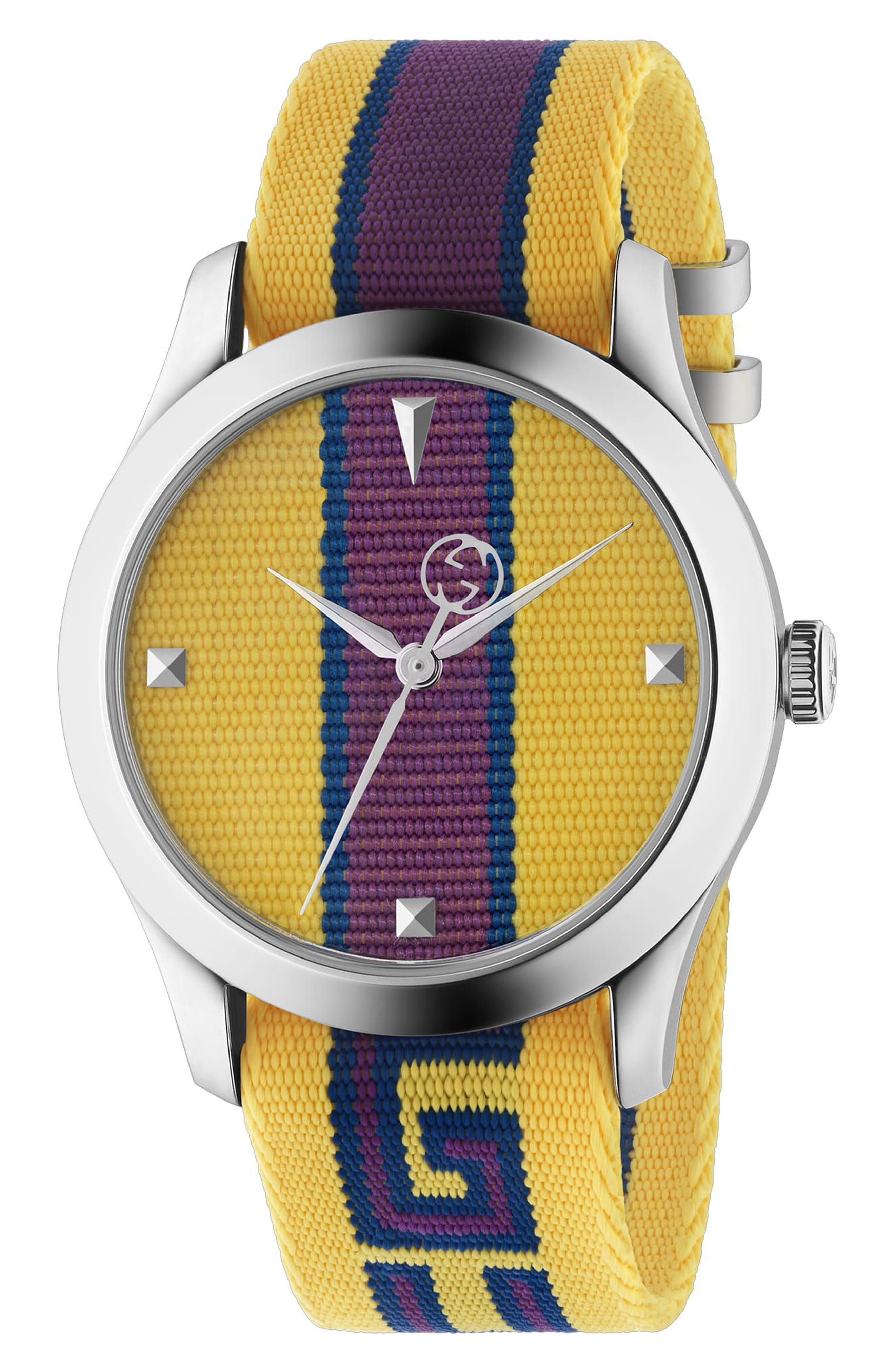 G-Timeless Nylon Strap Watch, 37mm,                             Main thumbnail 1, color,                             YELLOW/ PURPLE/ SILVER