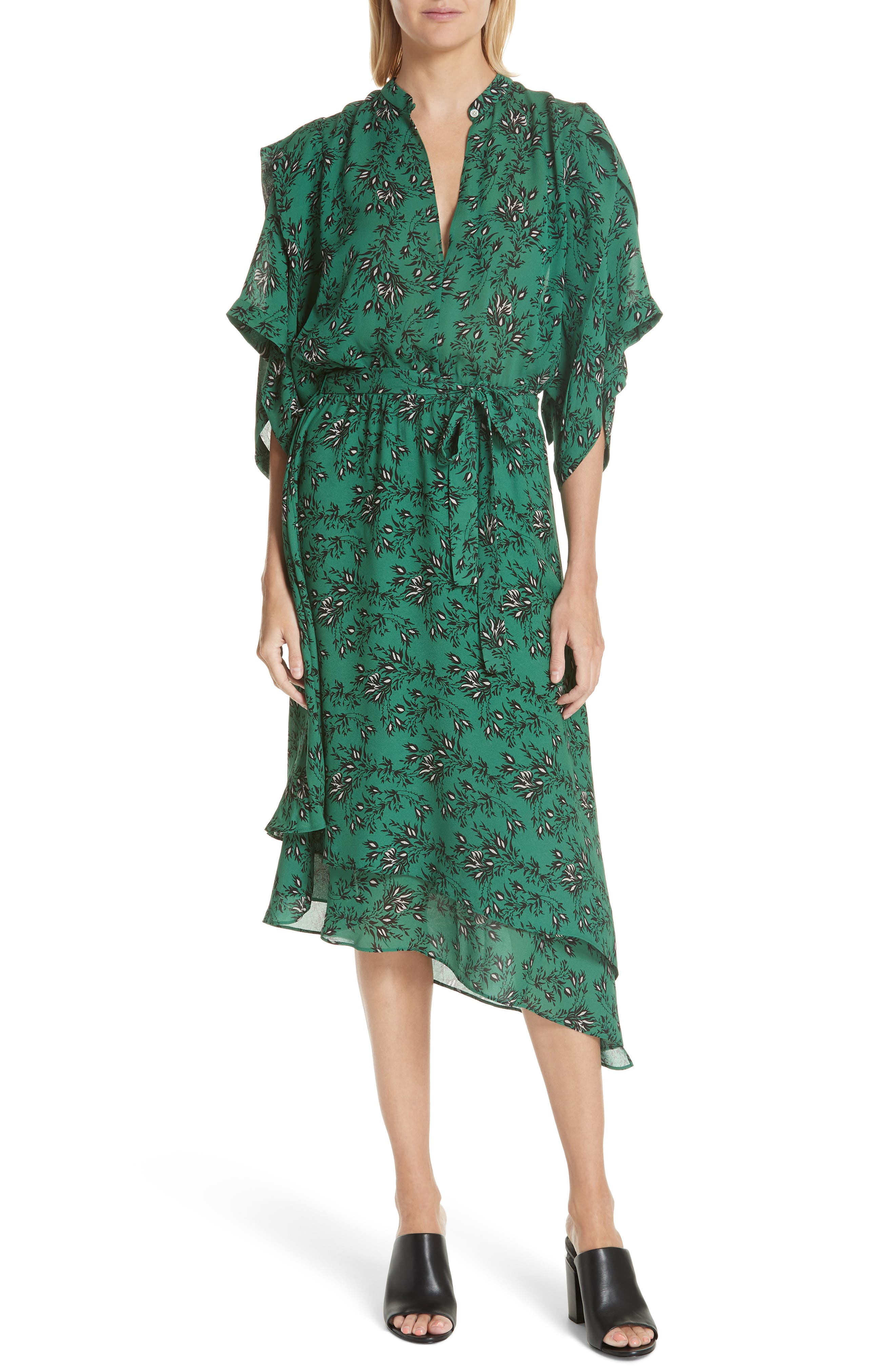 Japanese Floral Midi Dress,                             Main thumbnail 1, color,                             EMERALD ORCHID