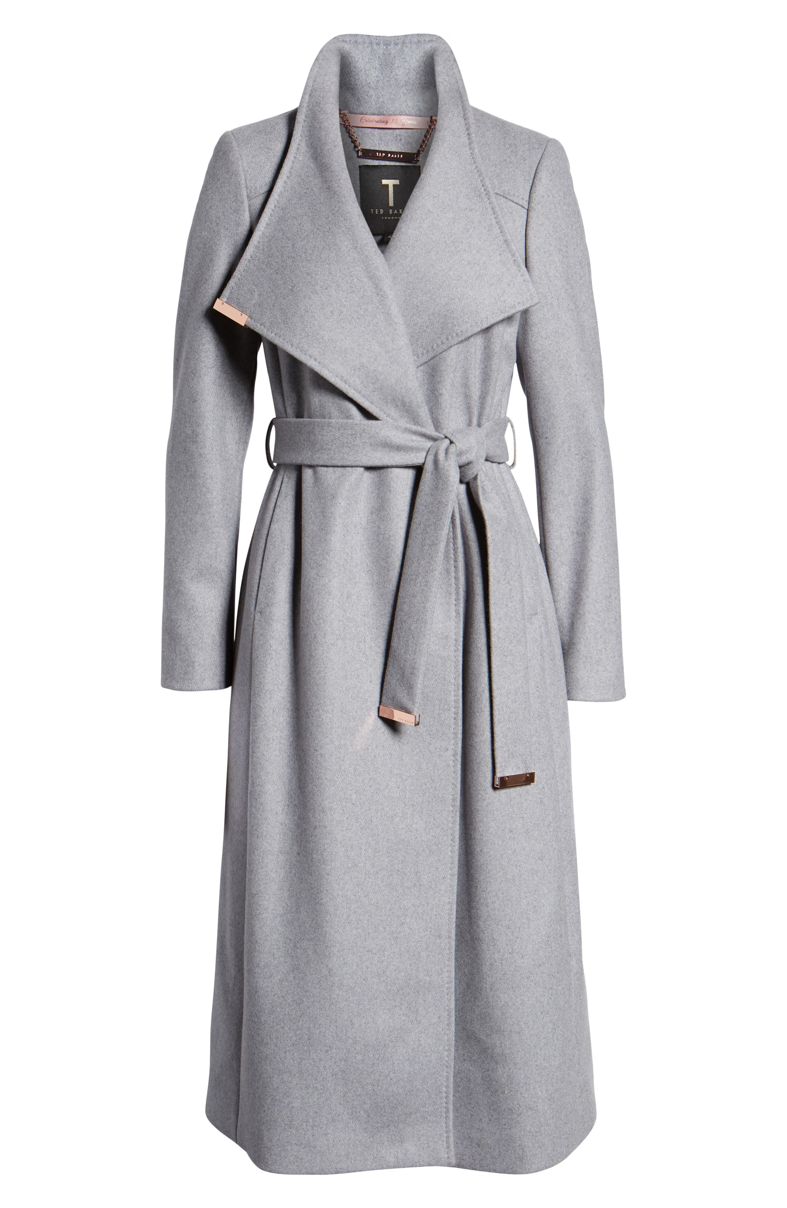 Ted Baker Londer Midi Wool Wrap Coat,                             Alternate thumbnail 6, color,                             GREY