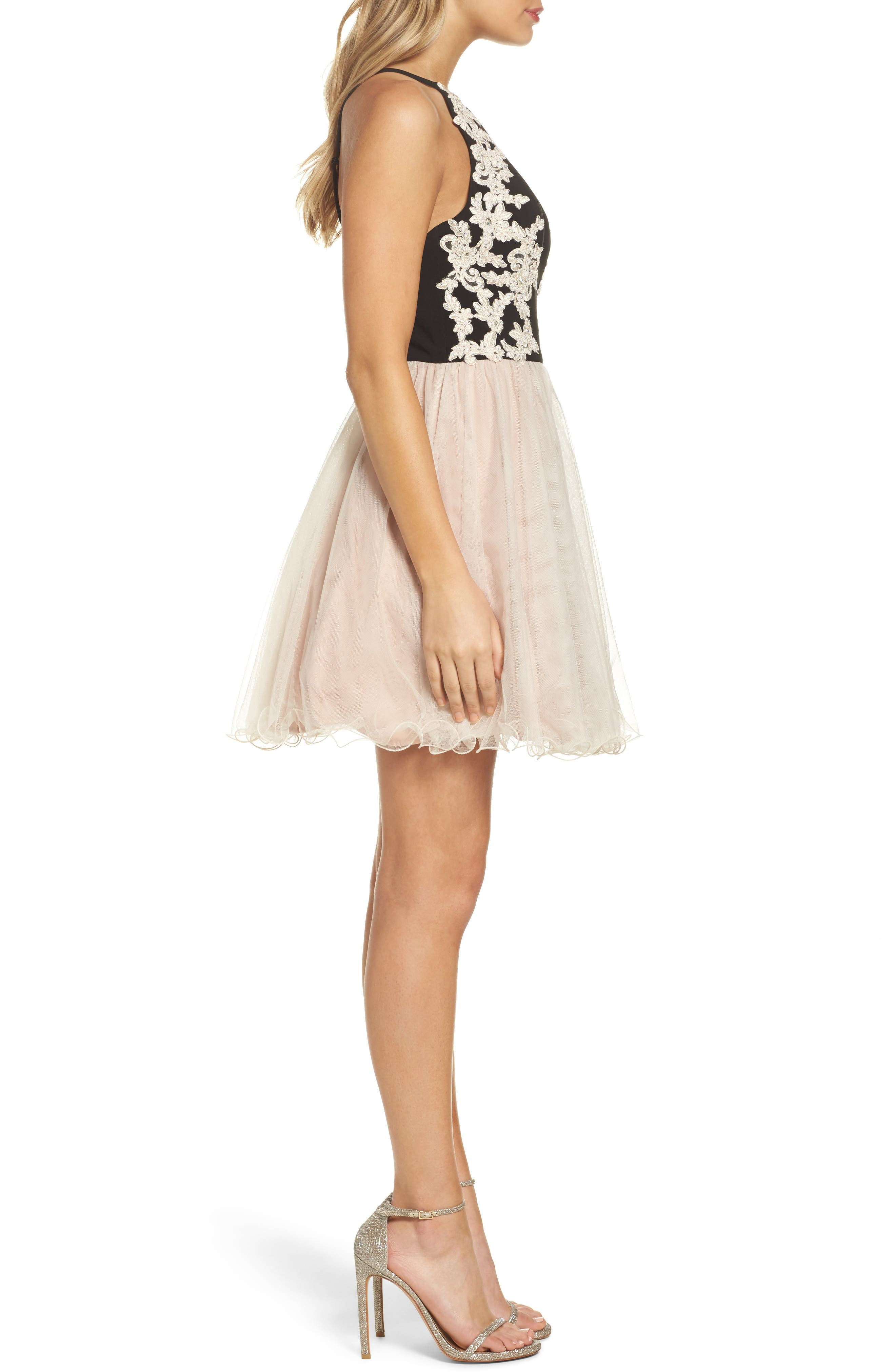 Appliqué Fit & Flare Dress,                             Alternate thumbnail 3, color,